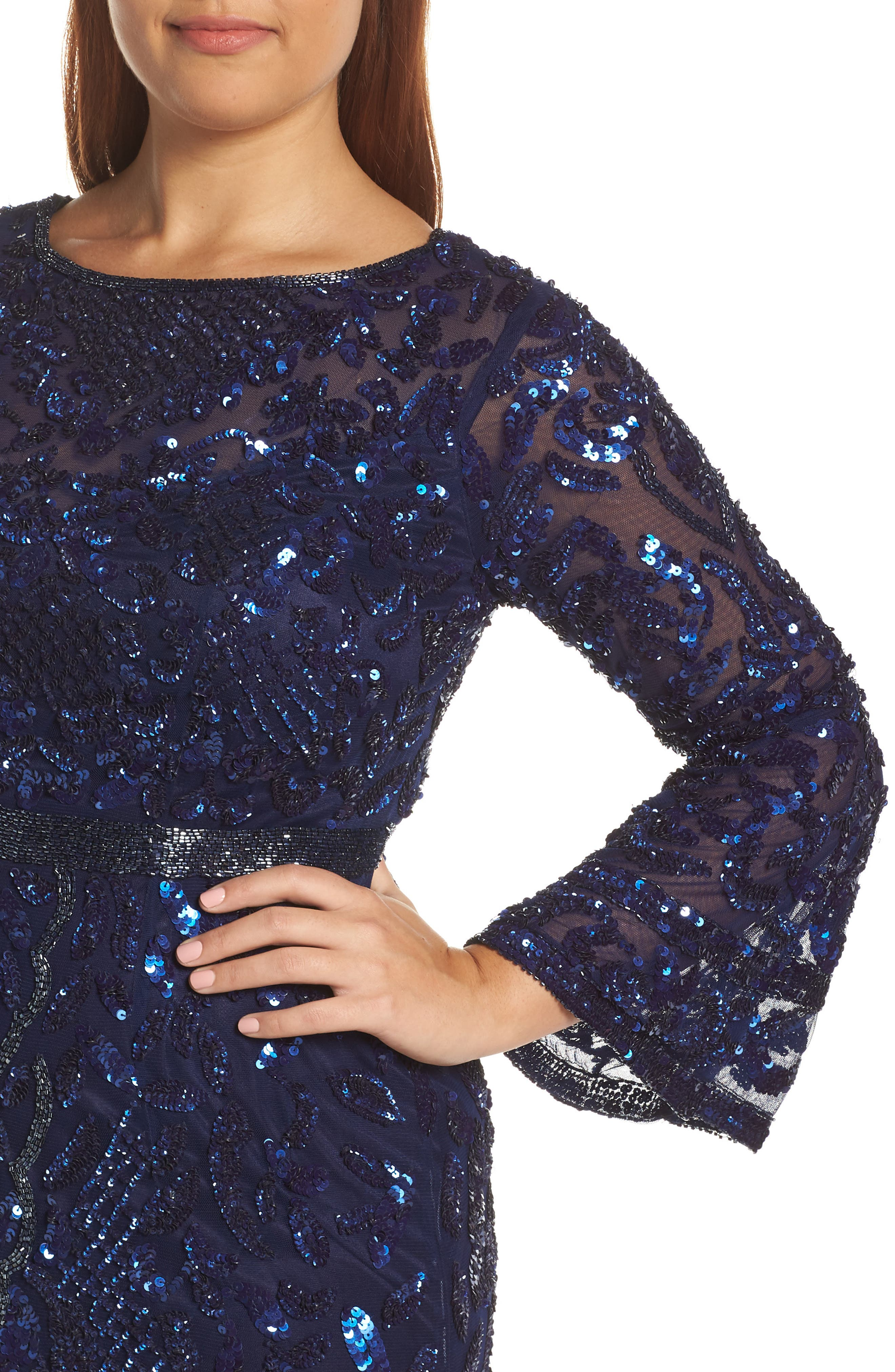 Sequin Bell Sleeve Gown,                             Alternate thumbnail 11, color,                             MIDNIGHT