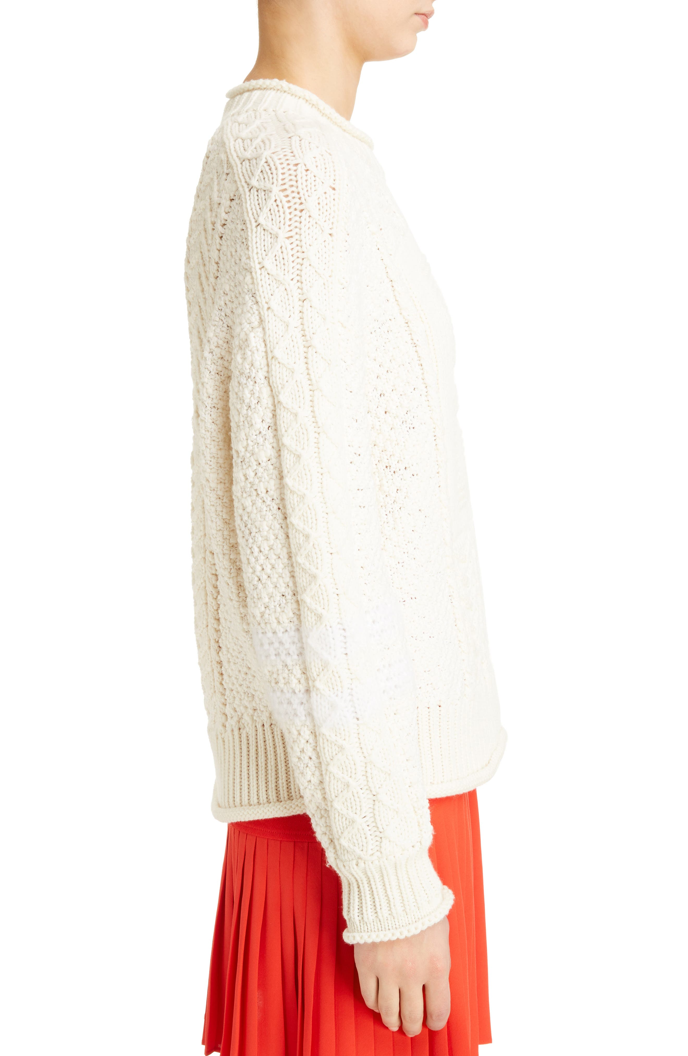Cable Knit Wool & Cashmere Sweater,                             Alternate thumbnail 3, color,                             WHITE/ ECRU