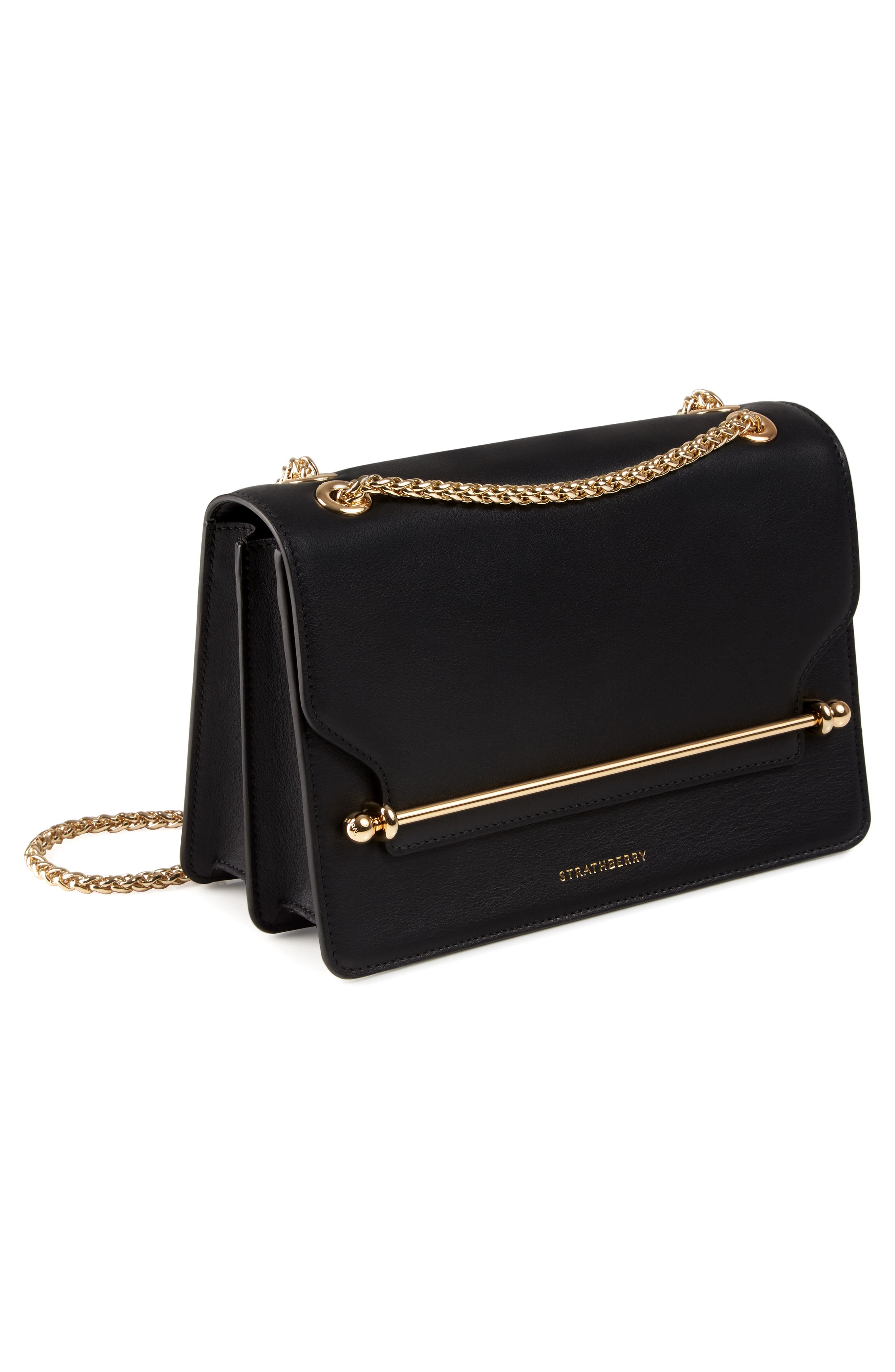 East/West Leather Crossbody Bag,                             Alternate thumbnail 4, color,                             BLACK