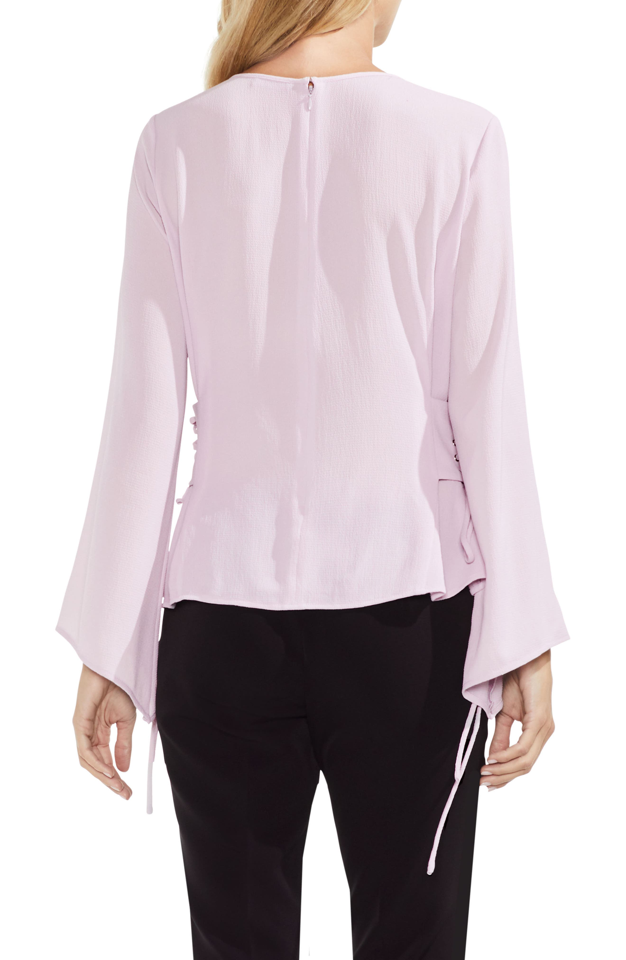 Lace-Up Bell Sleeve Blouse,                             Alternate thumbnail 6, color,