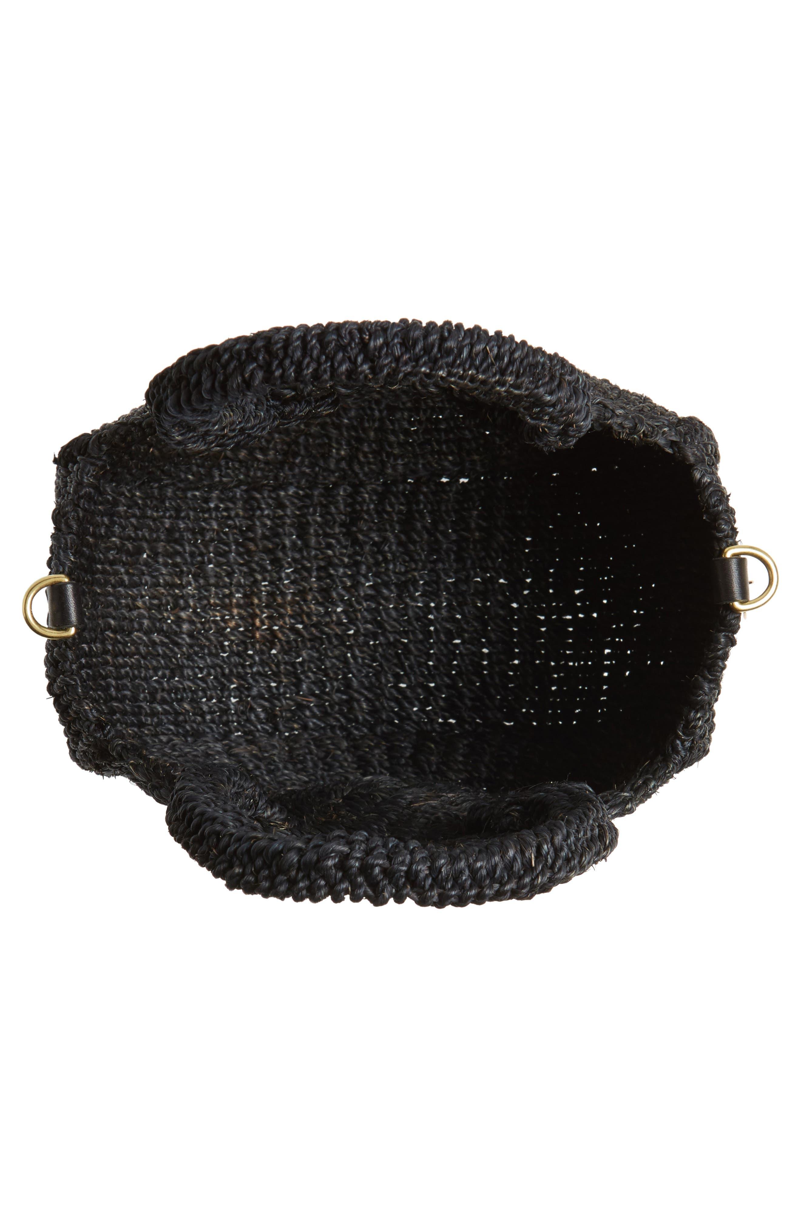 Petite Alice Straw Bag,                             Alternate thumbnail 4, color,                             BLACK WOVEN