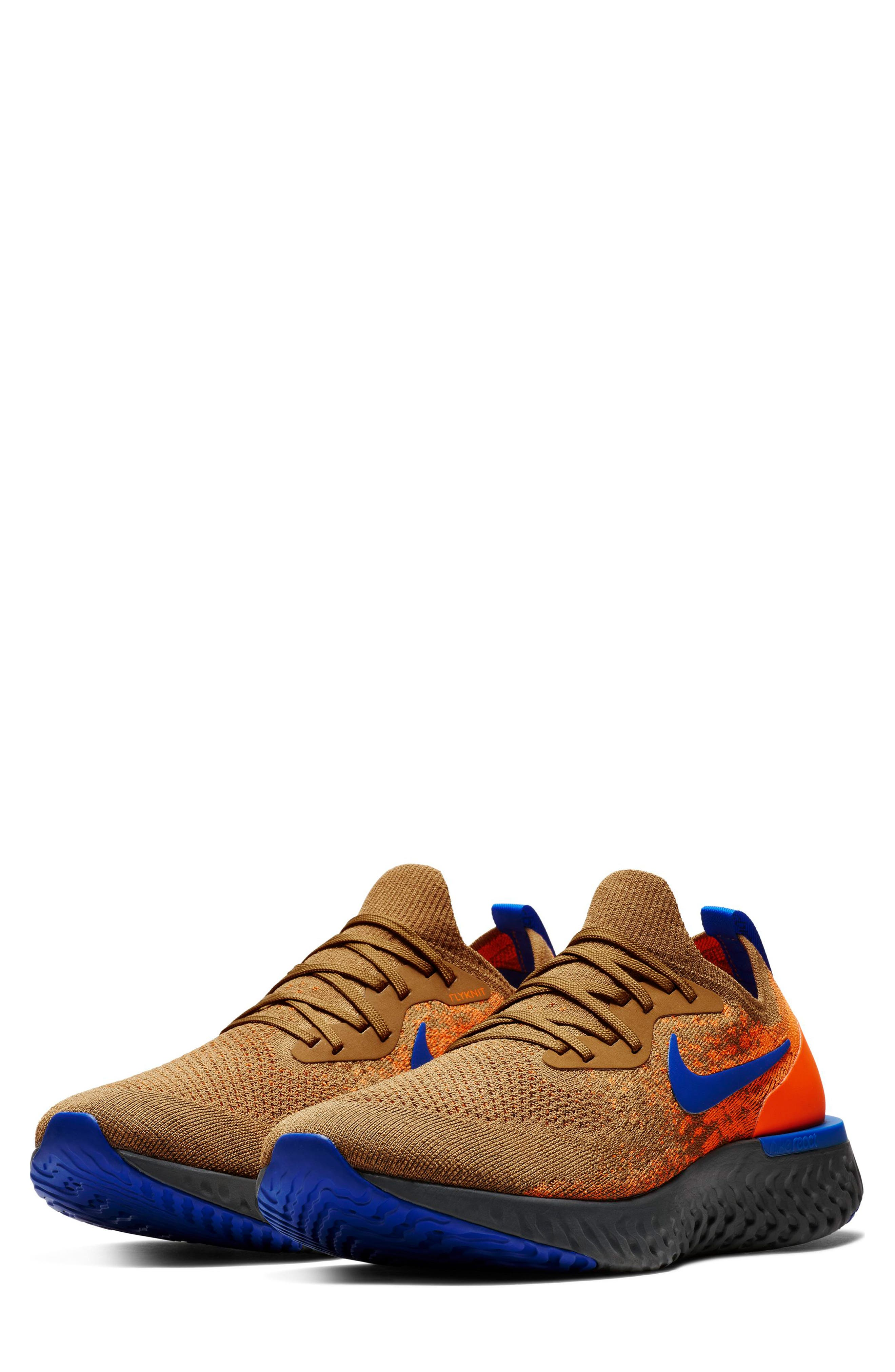 Epic React Flyknit Running Shoe,                             Main thumbnail 1, color,                             GOLDEN BEIGE/ BLUE/ ORANGE