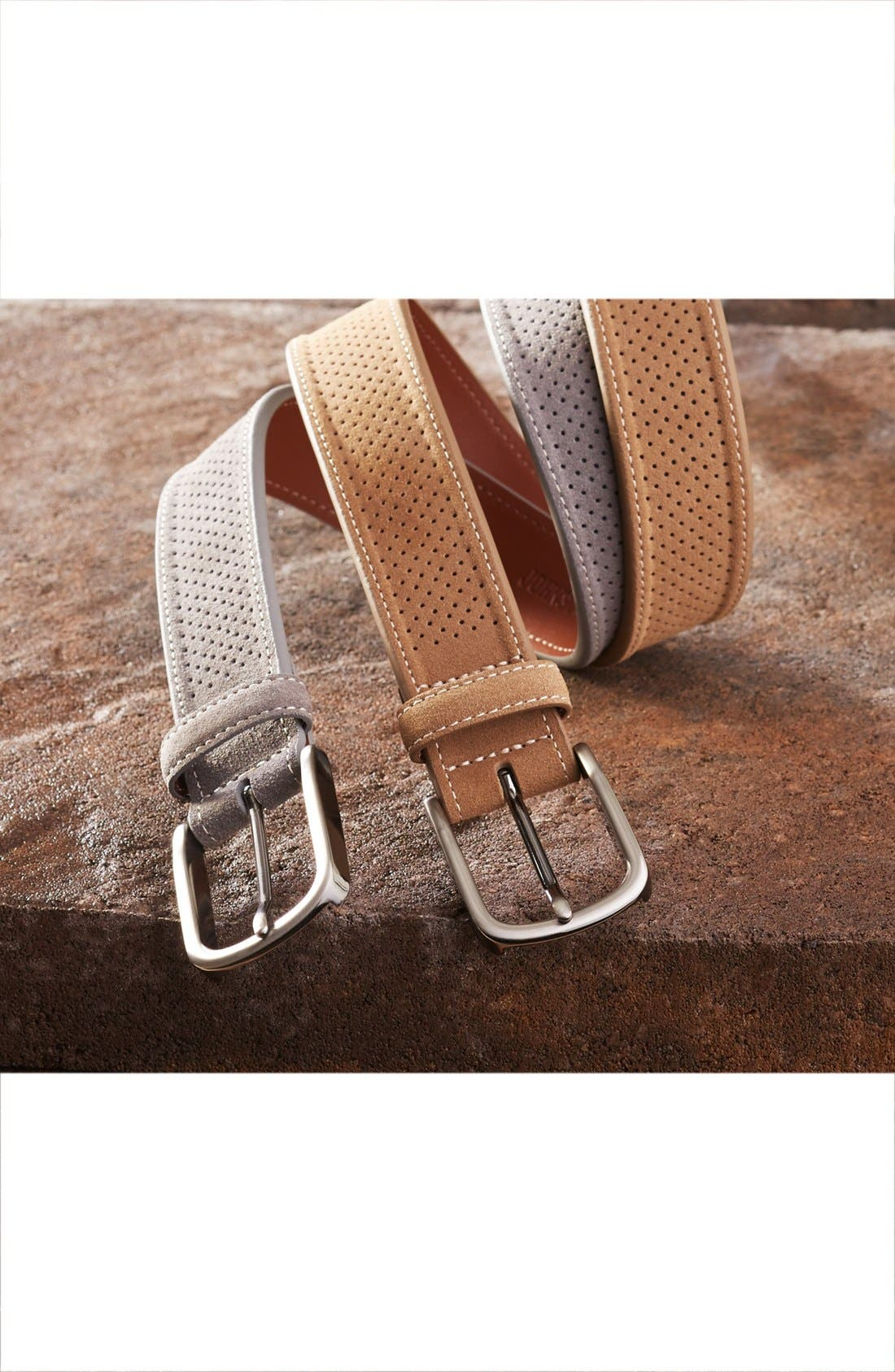 Perforated Suede Belt,                             Alternate thumbnail 4, color,                             410