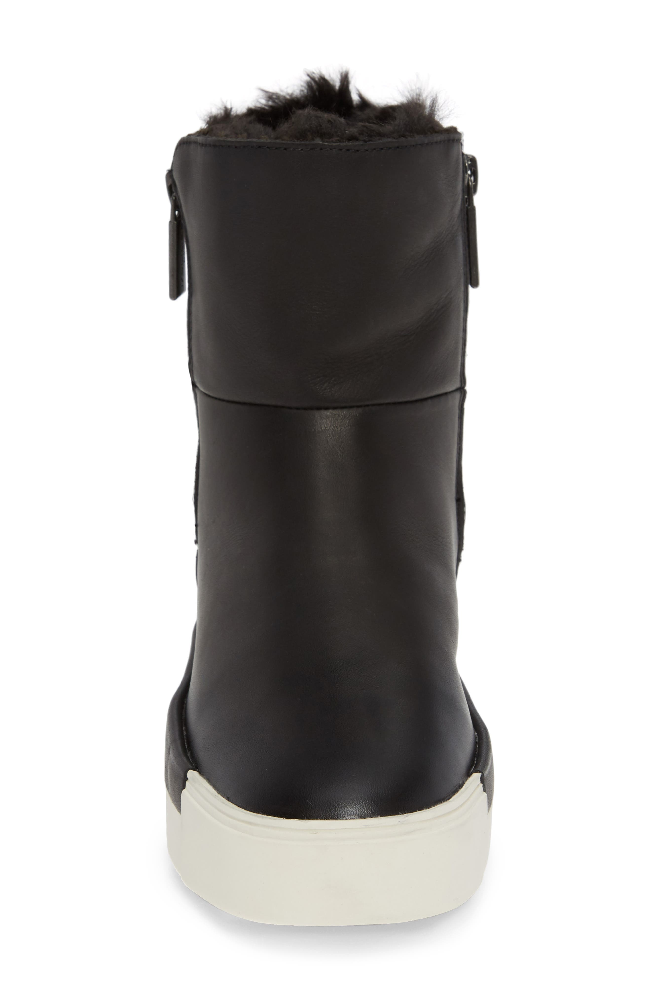 Victory Double Zip Boot,                             Alternate thumbnail 4, color,                             BLACK WATERPROOF LEATHER