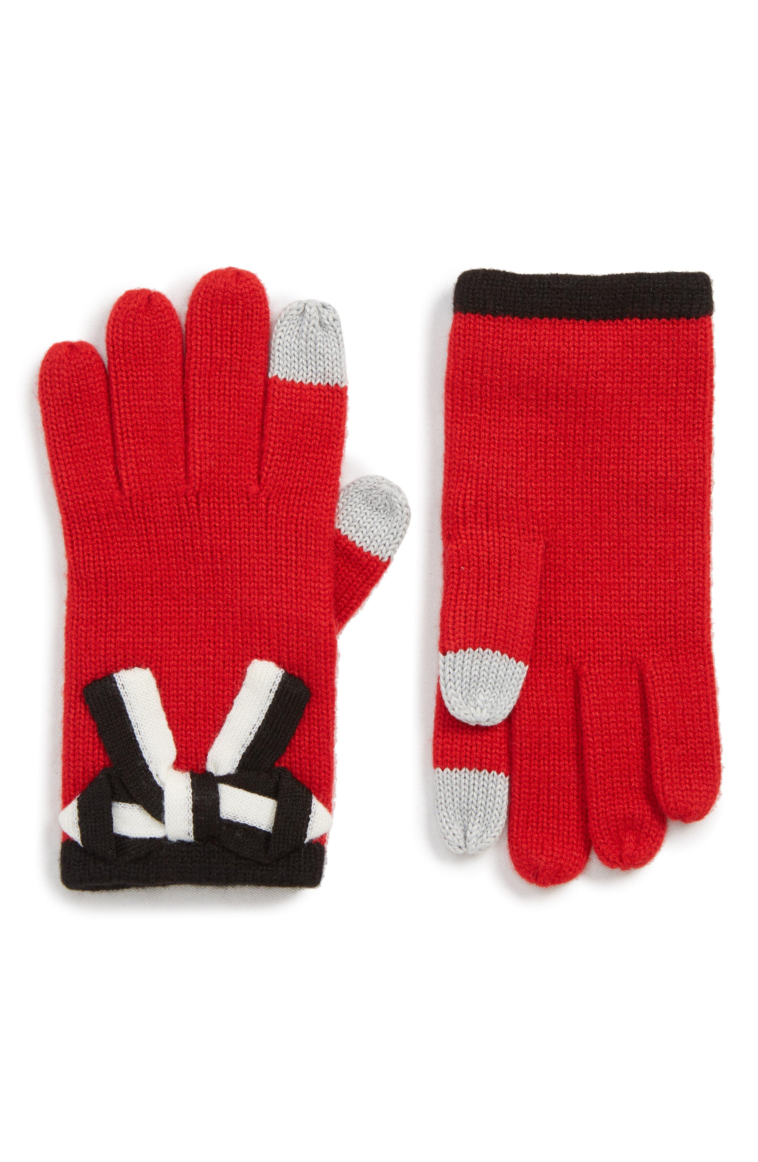 bow appliqué gloves,                         Main,                         color, LINGONBERRY/ BLACK/ CREAM BOW