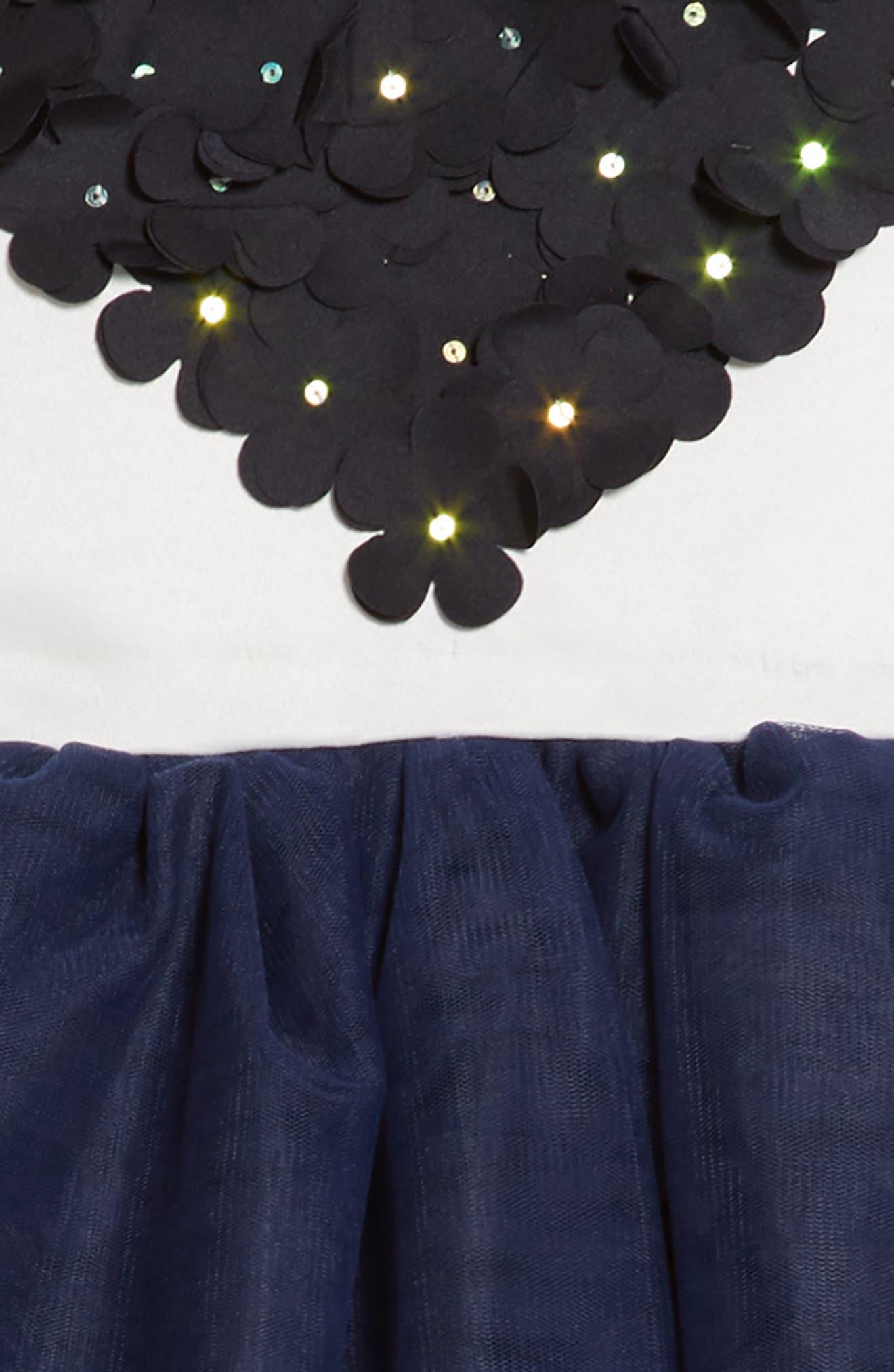 Amy Flower Embellished Tulle Dress,                             Alternate thumbnail 3, color,                             416