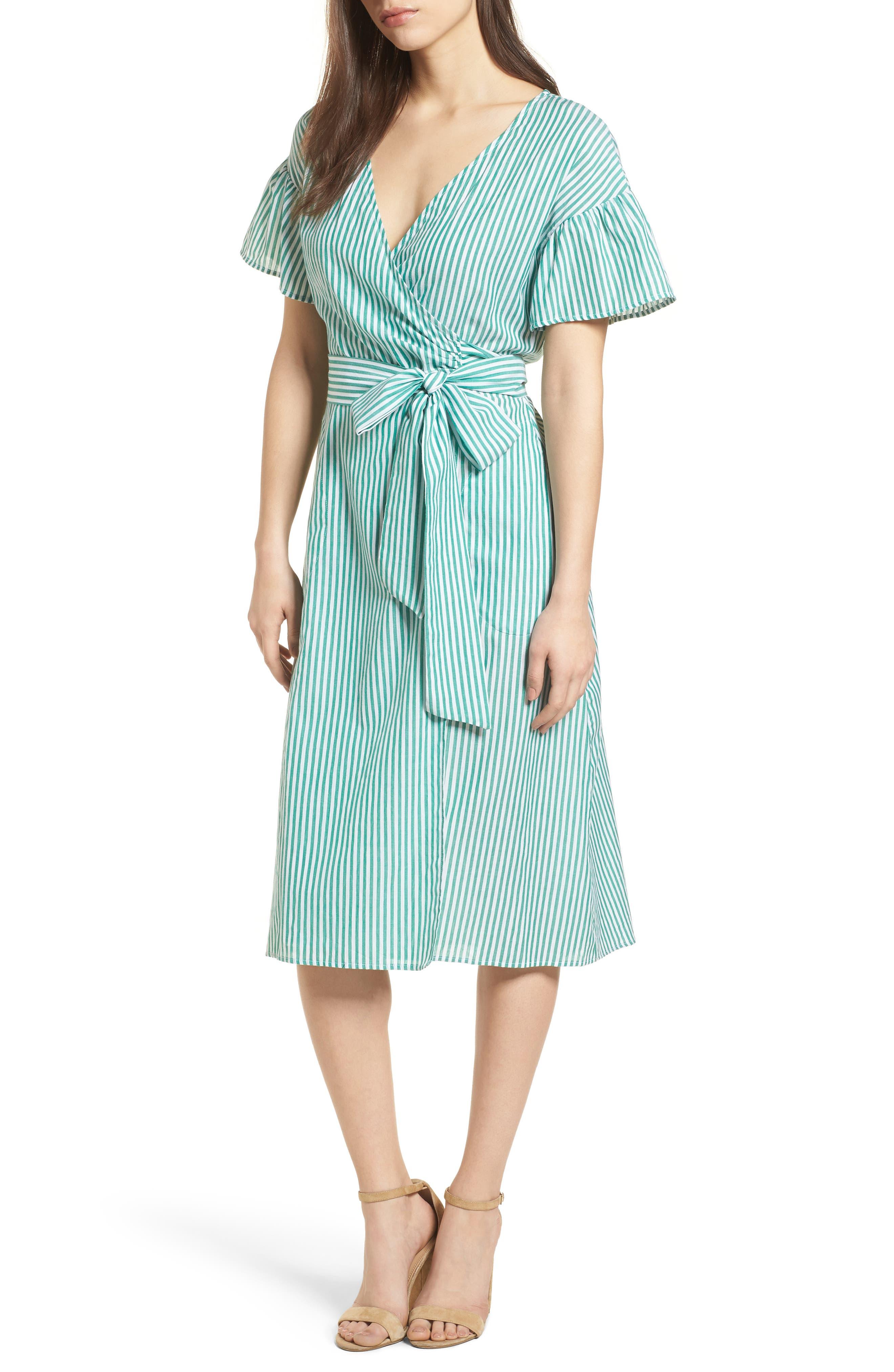 Stripe Cotton Wrap Dress,                             Main thumbnail 1, color,                             389