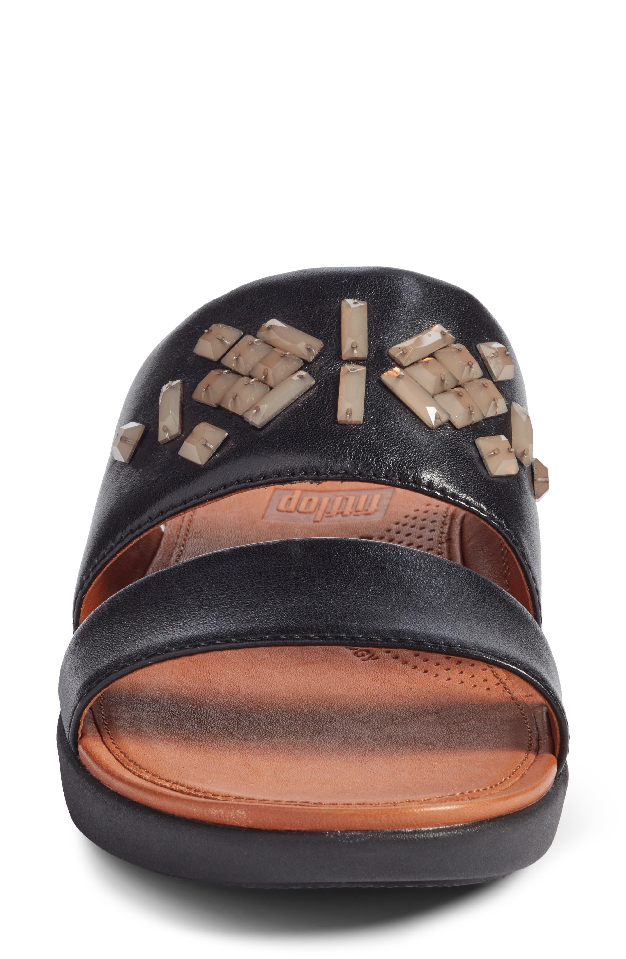 Delta Slide Sandal,                             Alternate thumbnail 4, color,                             BLACK LEATHER
