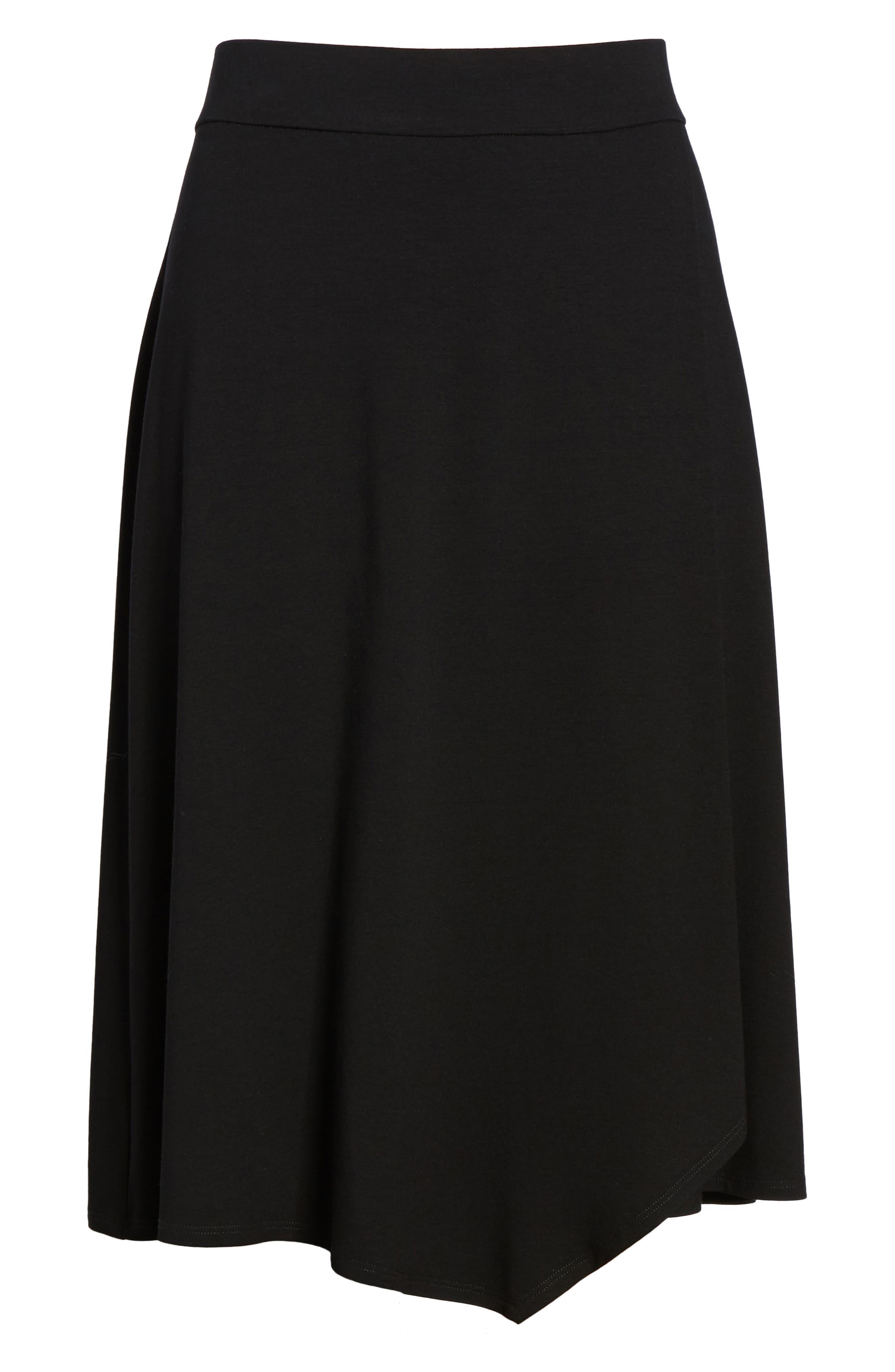 Faux Wrap Jersey Skirt,                             Alternate thumbnail 6, color,                             001