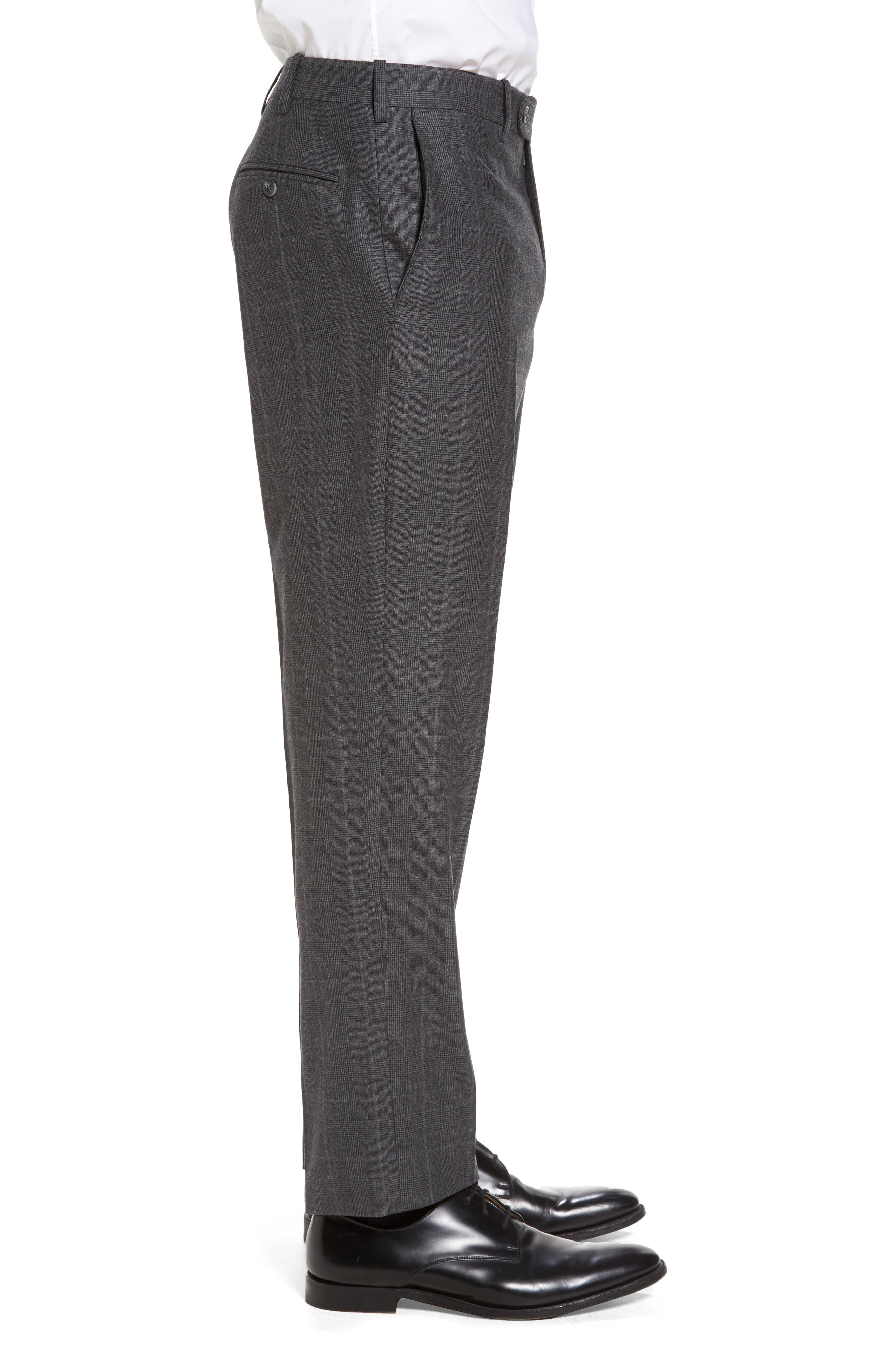 Flat Front Plaid Wool Trousers,                             Alternate thumbnail 4, color,                             032