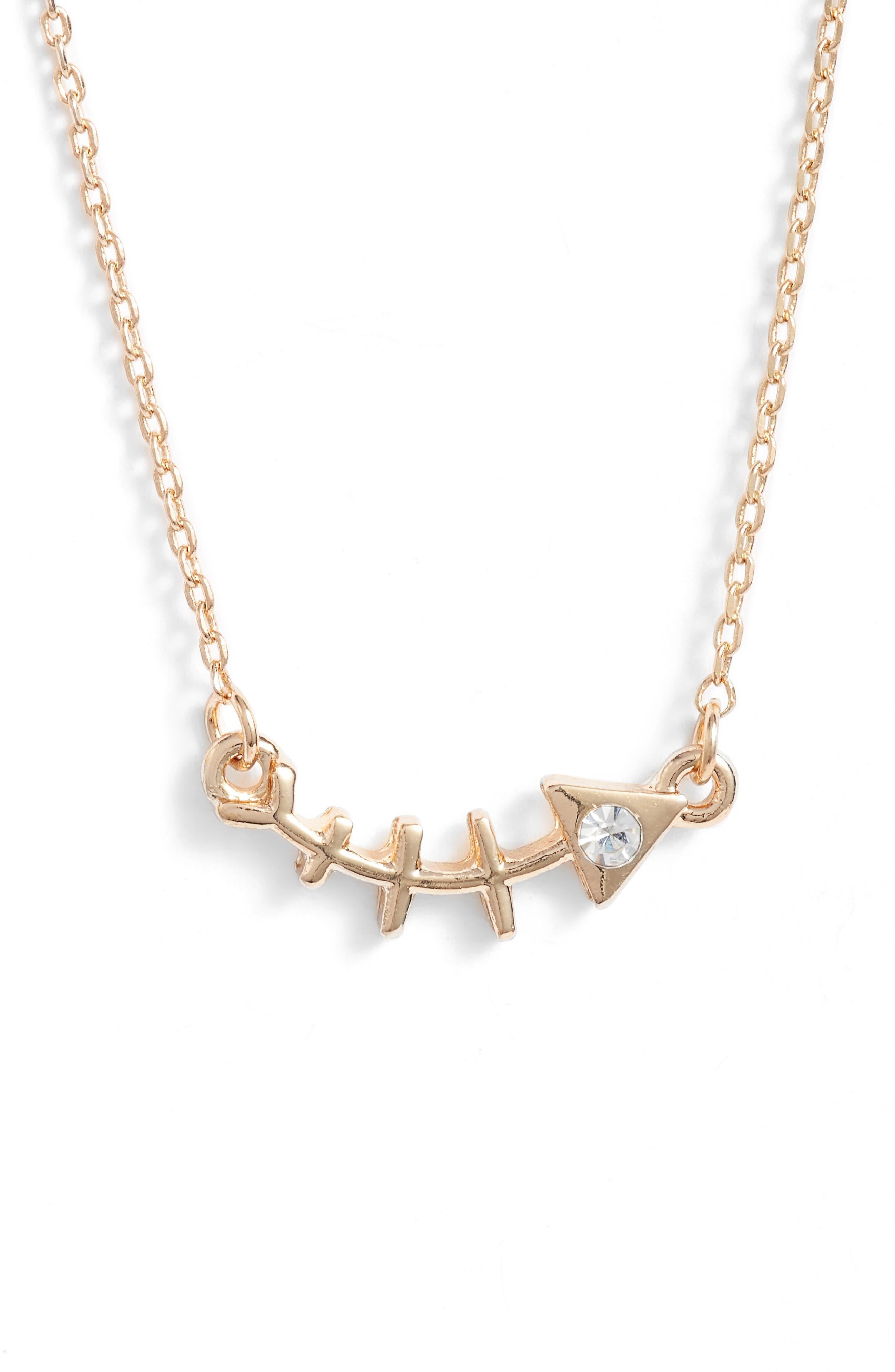Fish Bone Statement Necklace,                         Main,                         color, GOLD