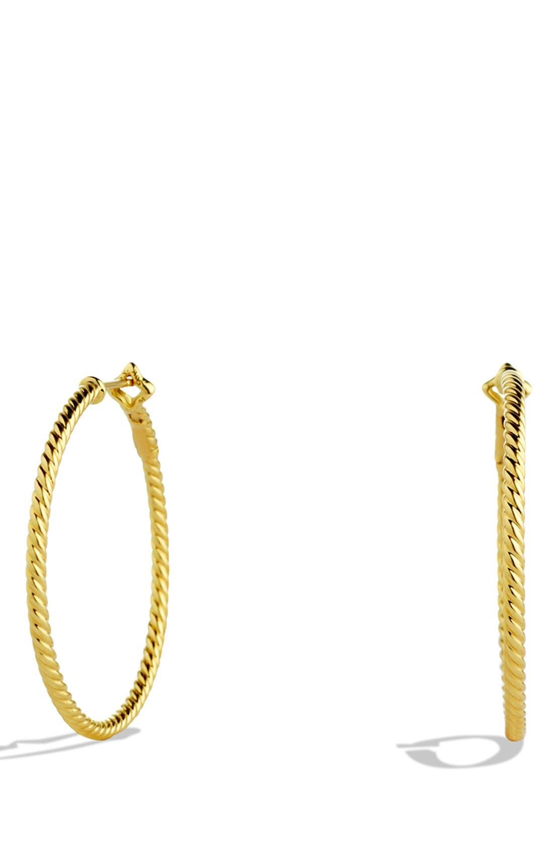 DAVID YURMAN,                             Cable Classics Hoop Earrings,                             Main thumbnail 1, color,                             GOLD