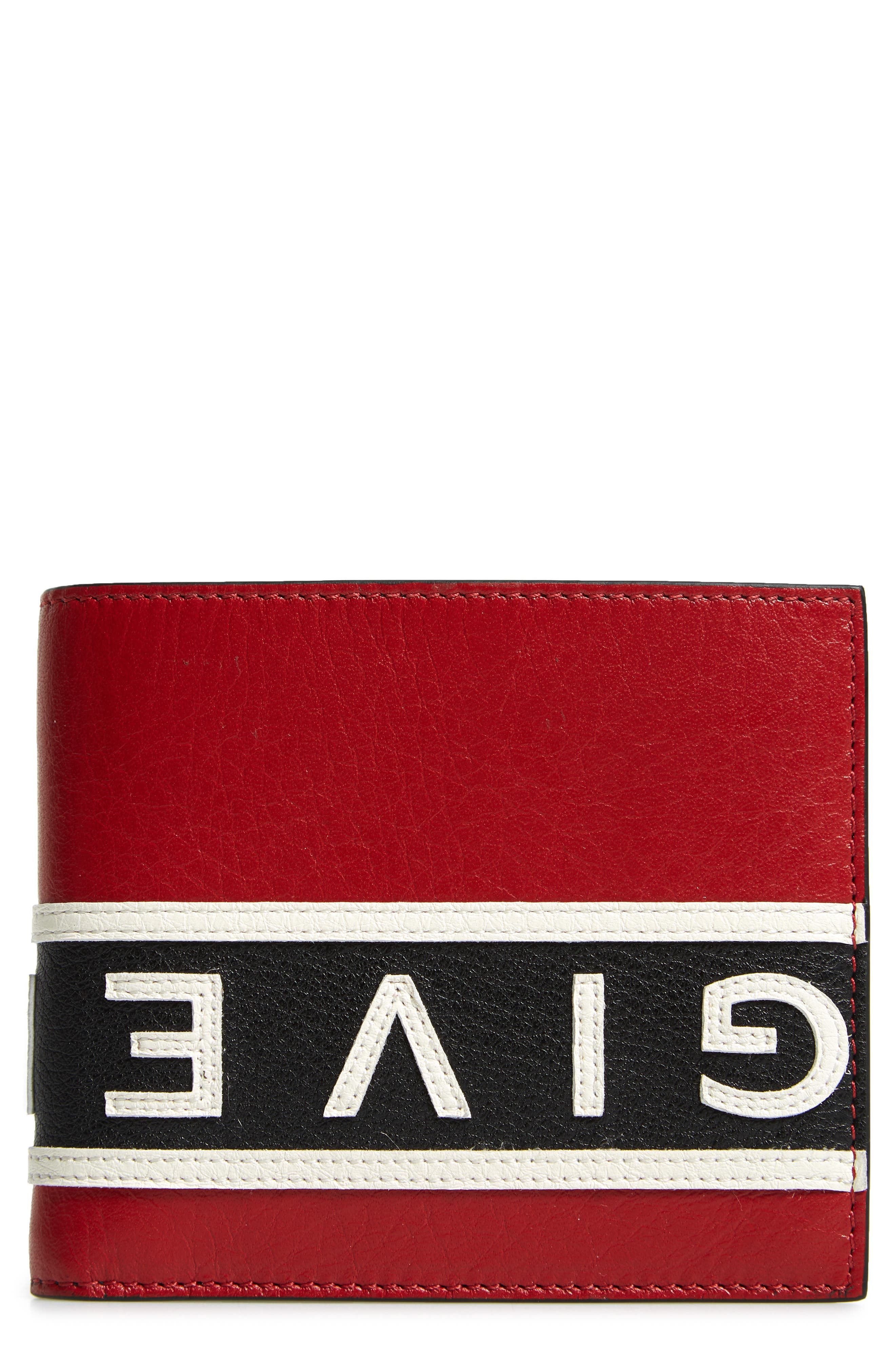 Reverse Logo Band Leather Wallet,                             Main thumbnail 1, color,                             BLACK/ WHITE/ RED