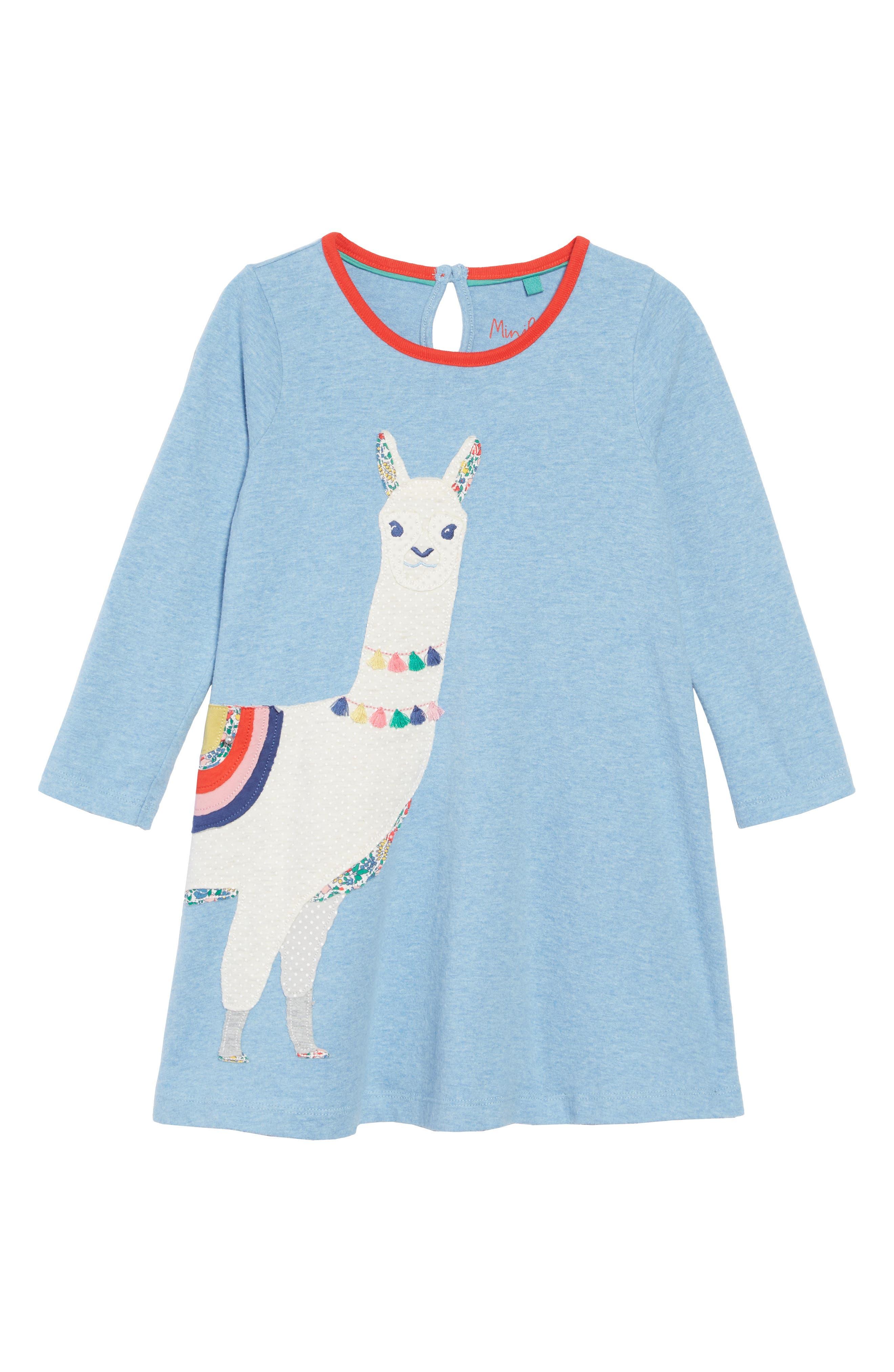 Patchwork Appliqué Dress,                         Main,                         color, BLUE MARL LLAMAS