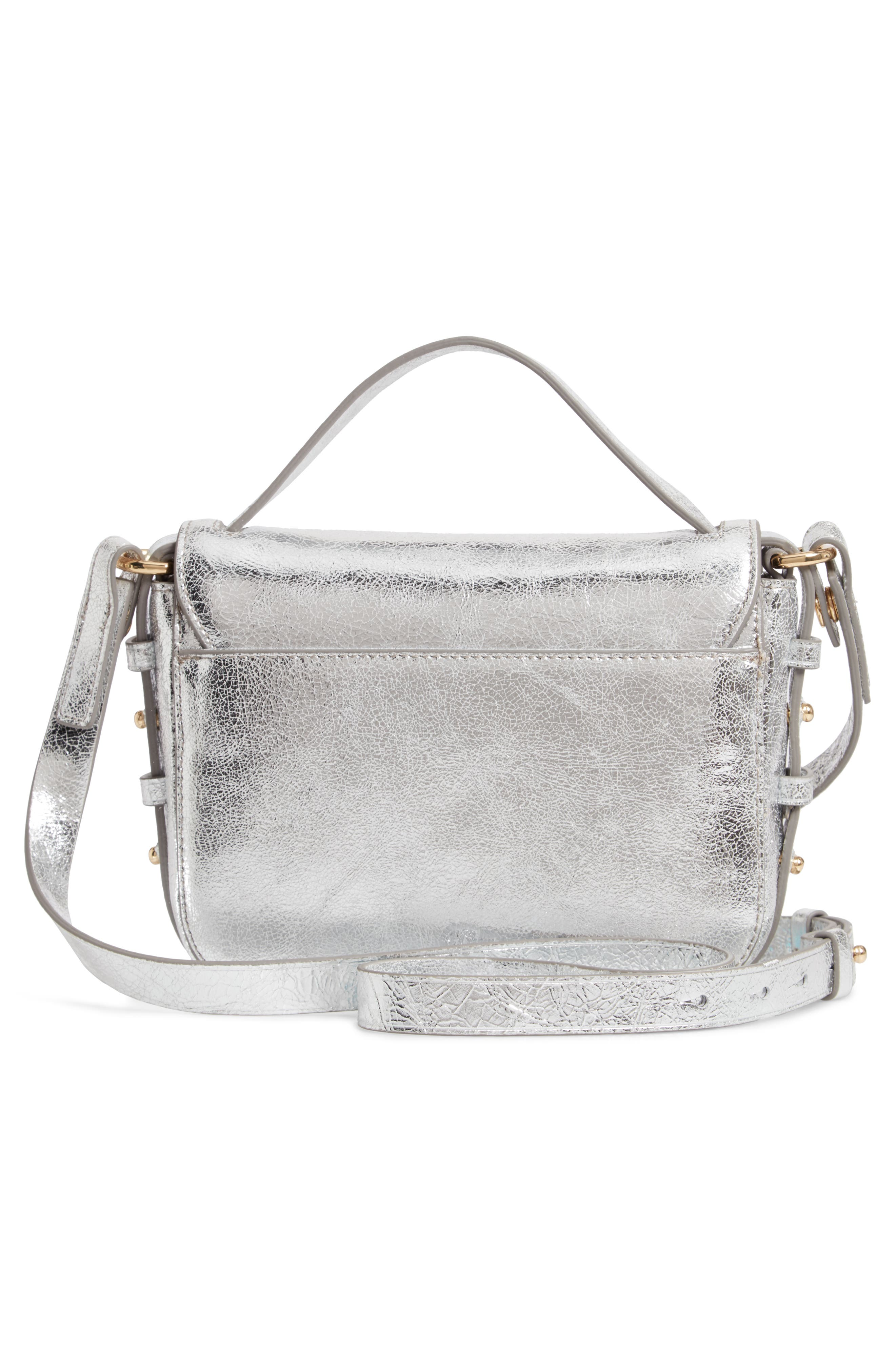 Harper Metallic Leather Crossbody Bag,                             Alternate thumbnail 3, color,                             METALLIC SILVER