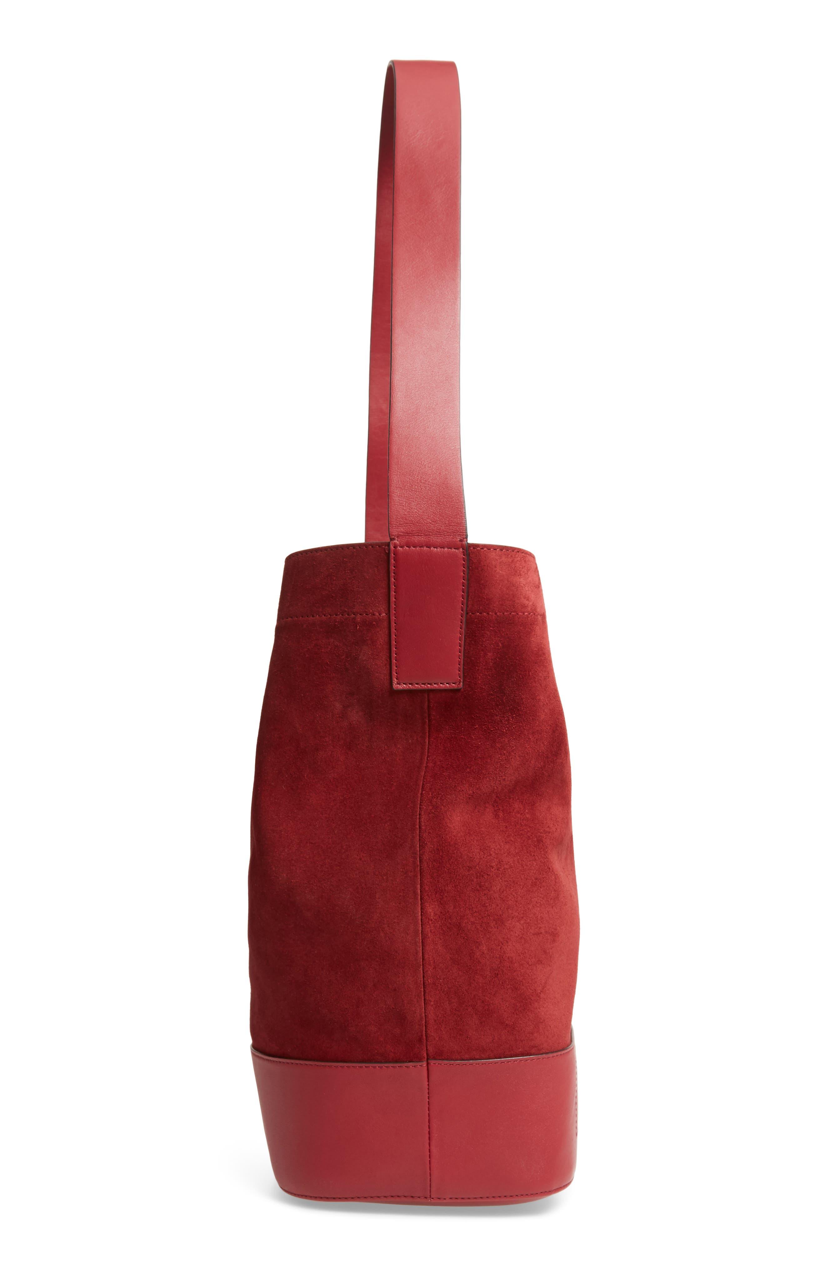 Walker Sling Suede Bucket Bag,                             Alternate thumbnail 6, color,                             BIKING RED MULTI