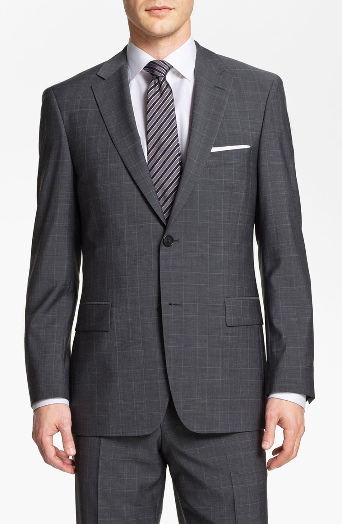 BOSS Black 'Pasini/Movie' Plaid Suit,                             Main thumbnail 1, color,                             030