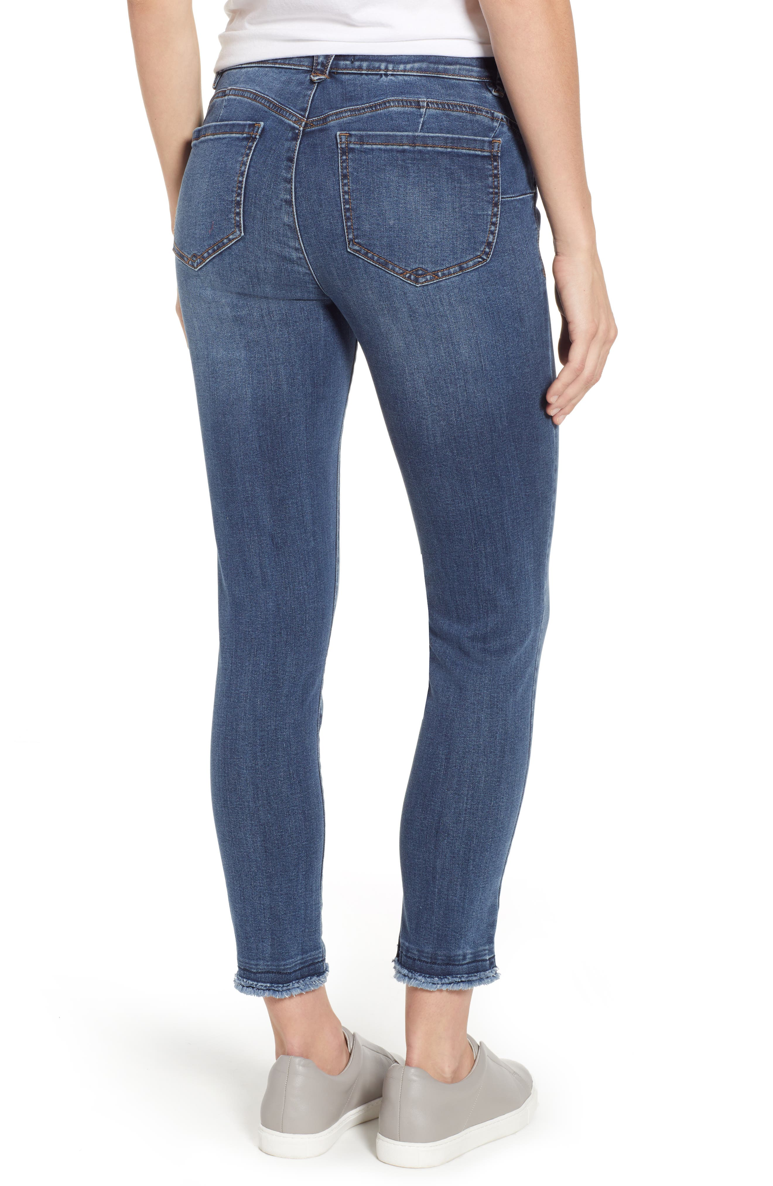 WIT & WISDOM,                             Ab-solution Distressed Skinny Raw Hem Ankle Jeans,                             Alternate thumbnail 2, color,                             BLUE