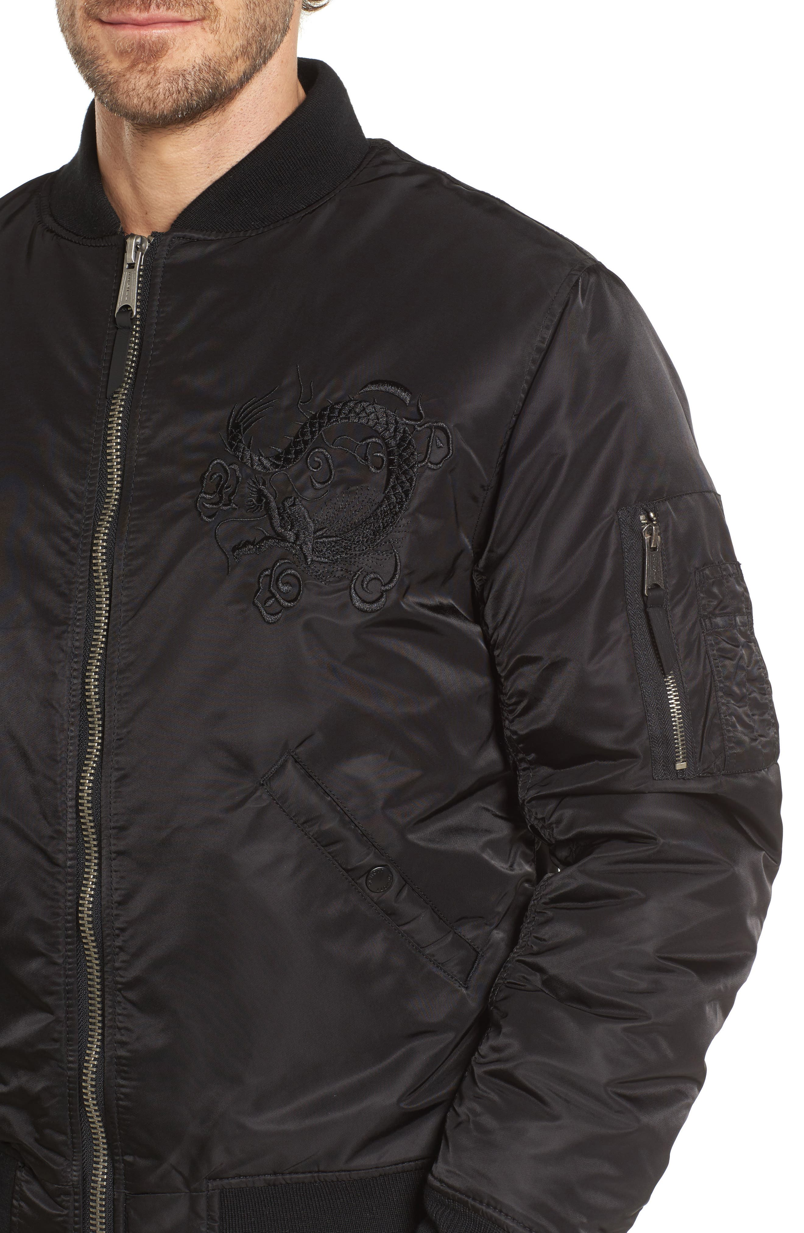 Dragon Embroidered Nylon Flight Jacket,                             Alternate thumbnail 4, color,                             001