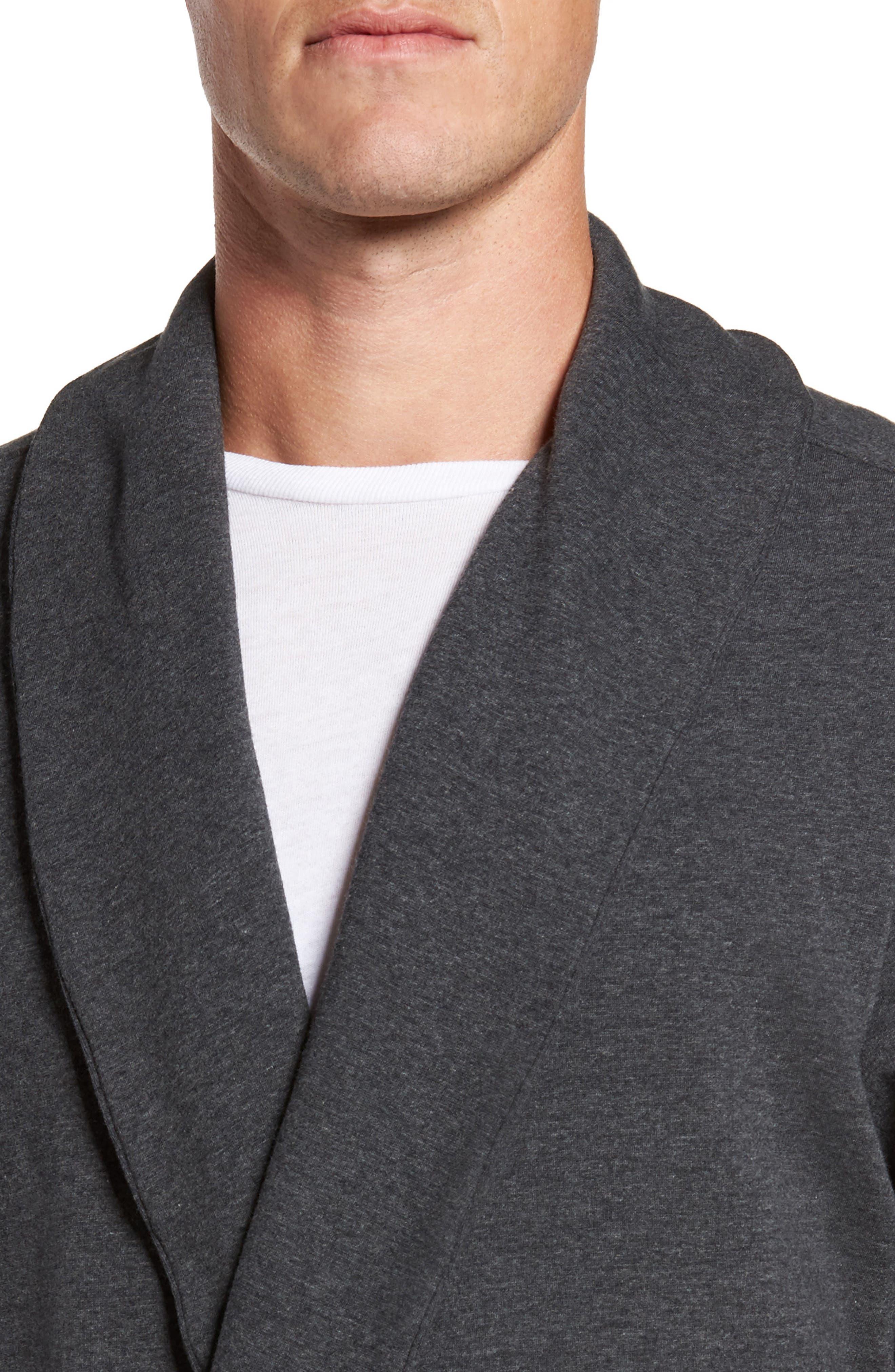 Jersey Fleece Robe,                             Alternate thumbnail 4, color,                             030