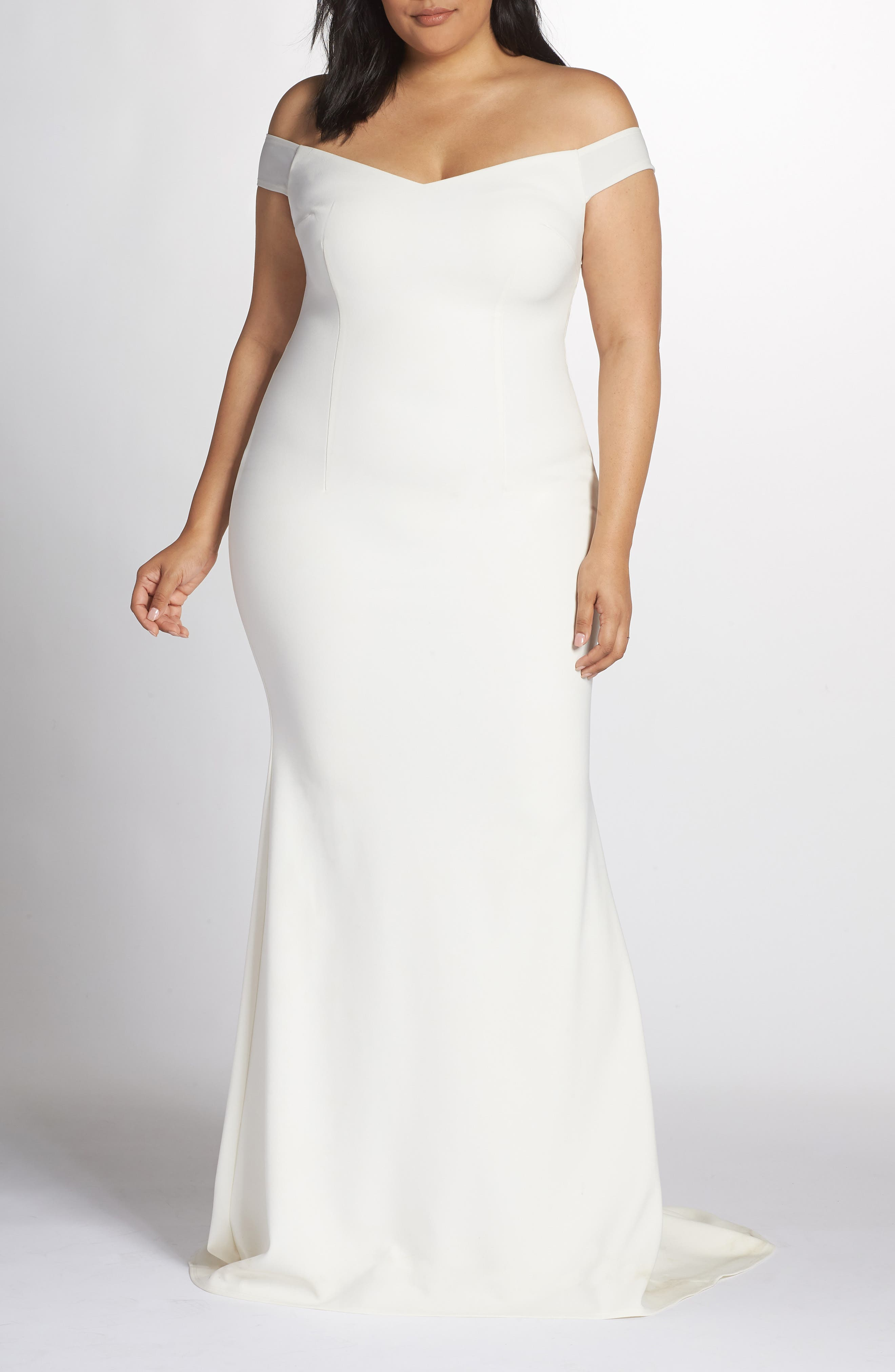 NOEL AND JEAN BY KATIE MAY,                             Alpha Off the Shoulder Dress,                             Main thumbnail 1, color,                             IVORY