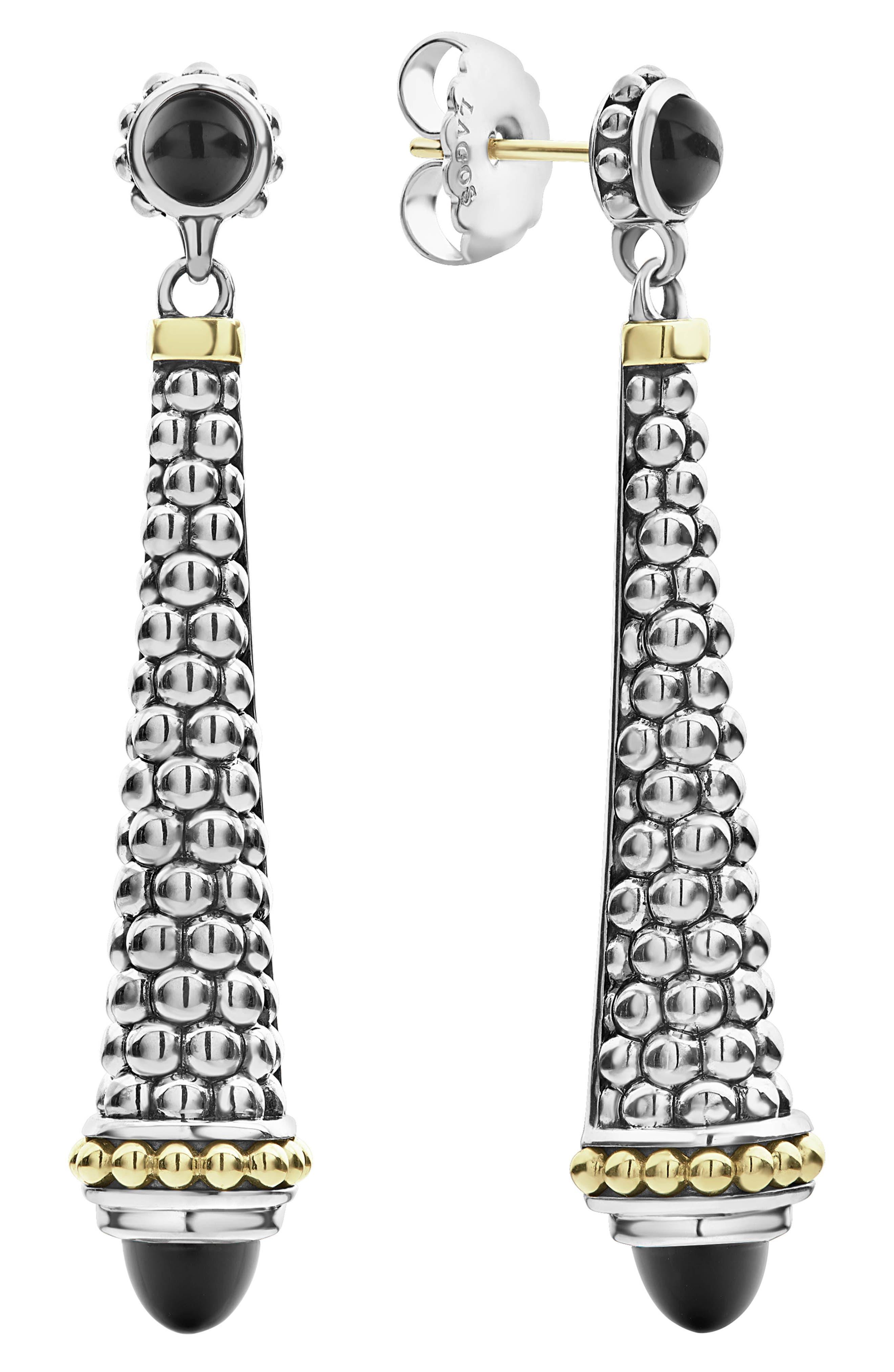 LAGOS,                             Signature Caviar Stone Cap Drop Earrings,                             Alternate thumbnail 5, color,                             SILVER/ BLACK ONYX