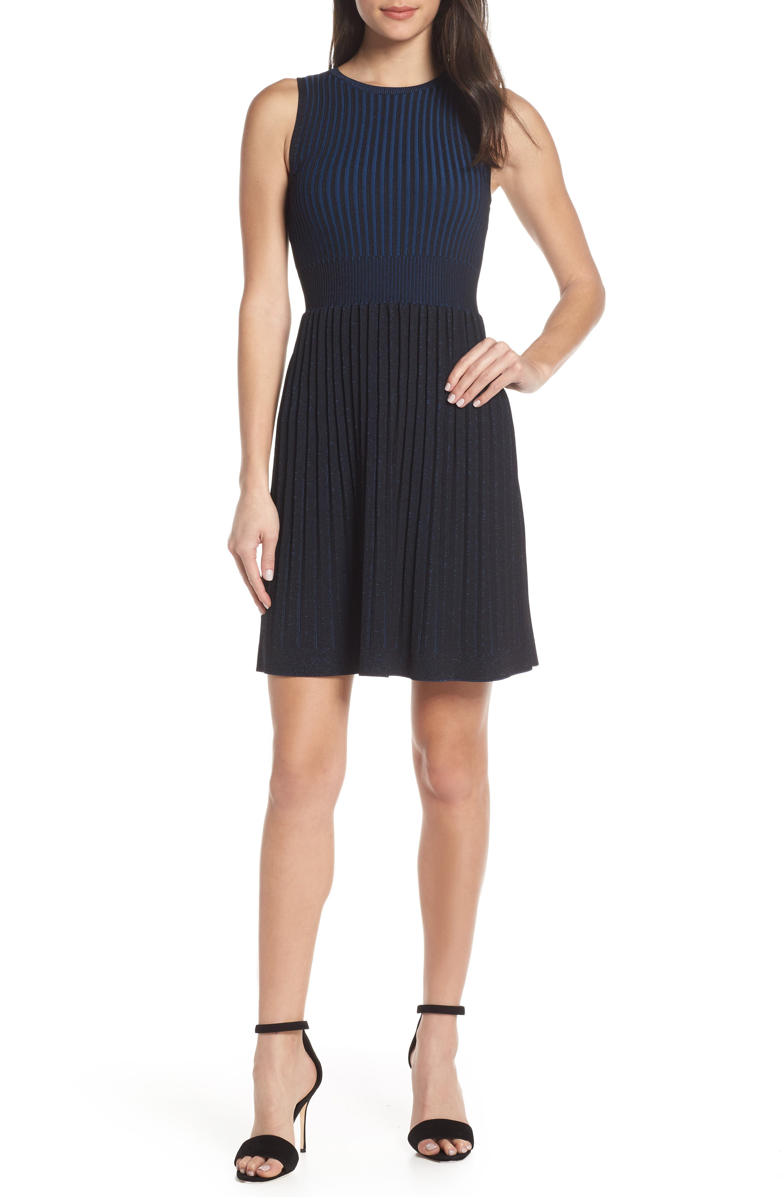 French Connection Fit & Flare Knit Dress, Black