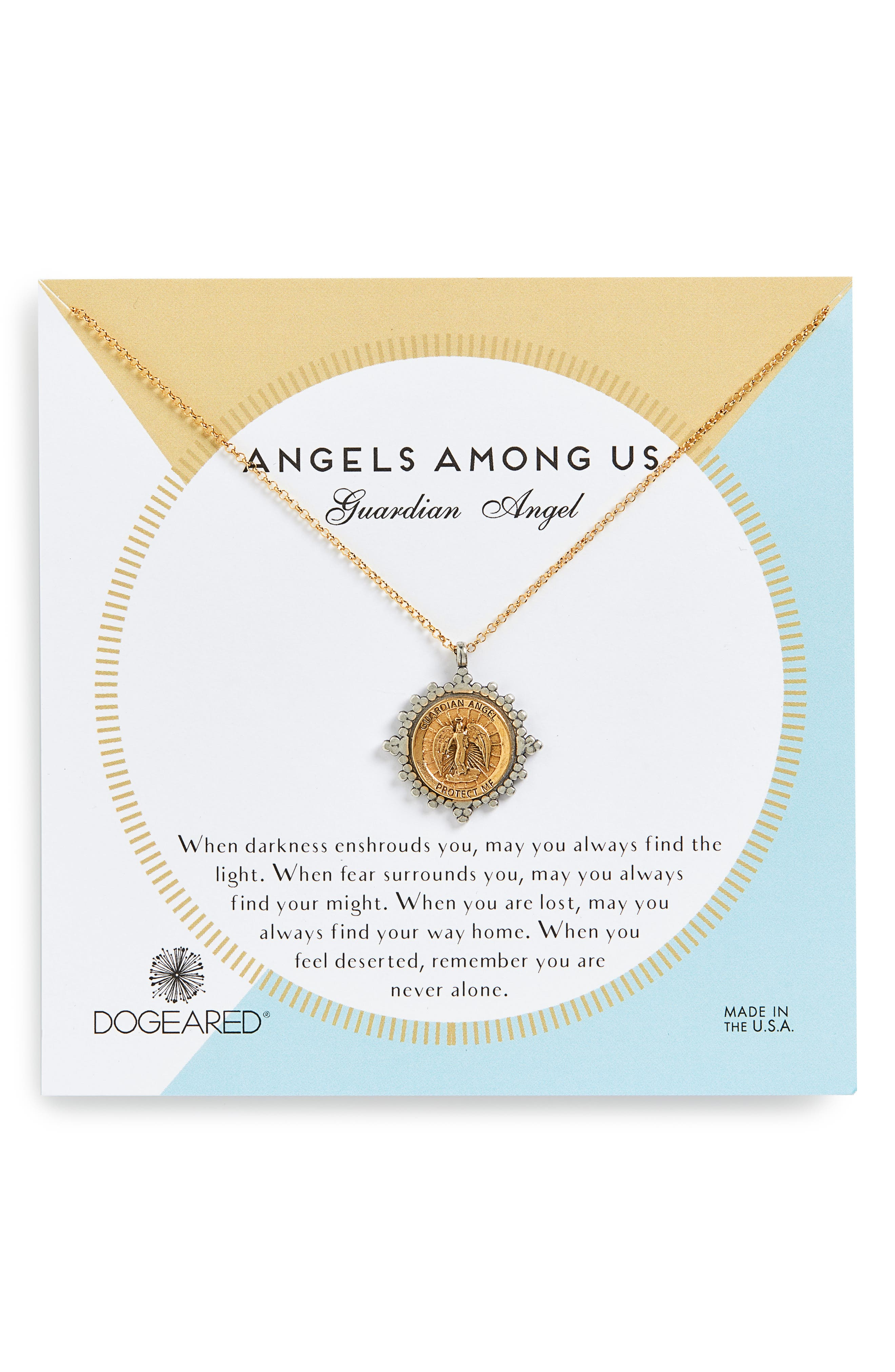 DOGEARED Angels Among Us Guardian Angel Pendant Necklace in Gold