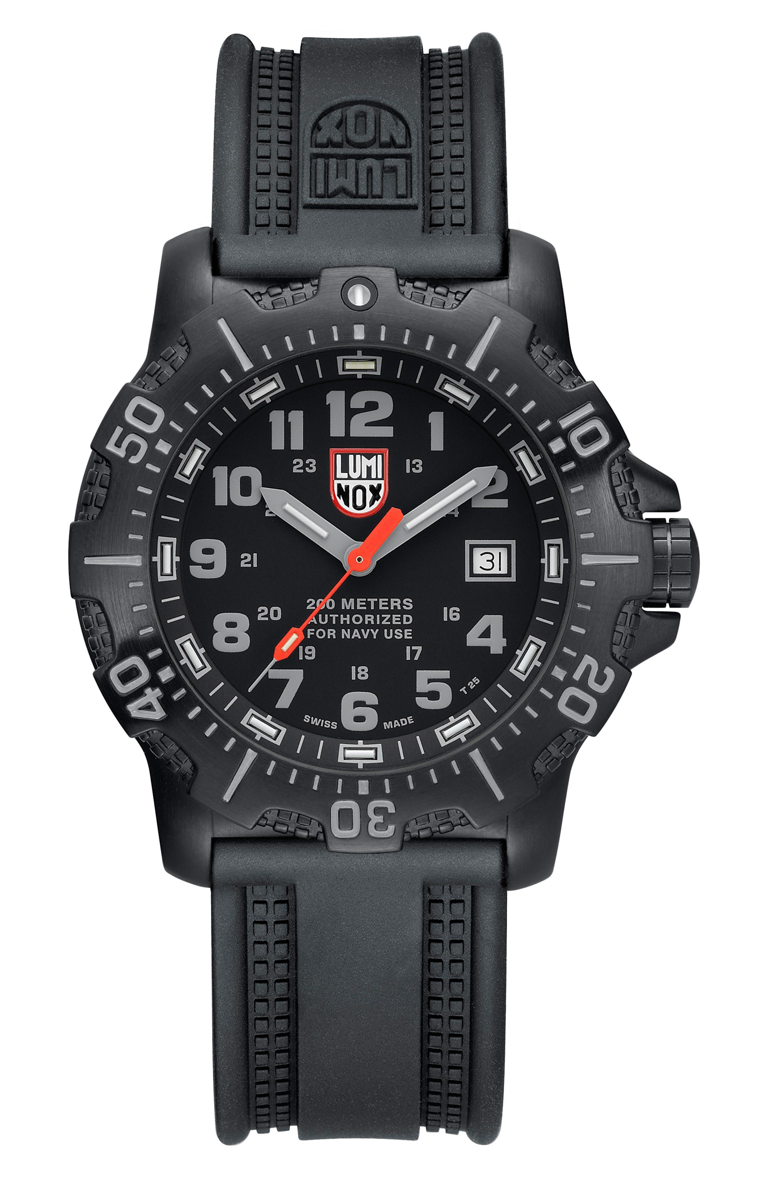 'Sea - ANU' Polyurethane Strap Watch, 45mm,                             Alternate thumbnail 2, color,                             001