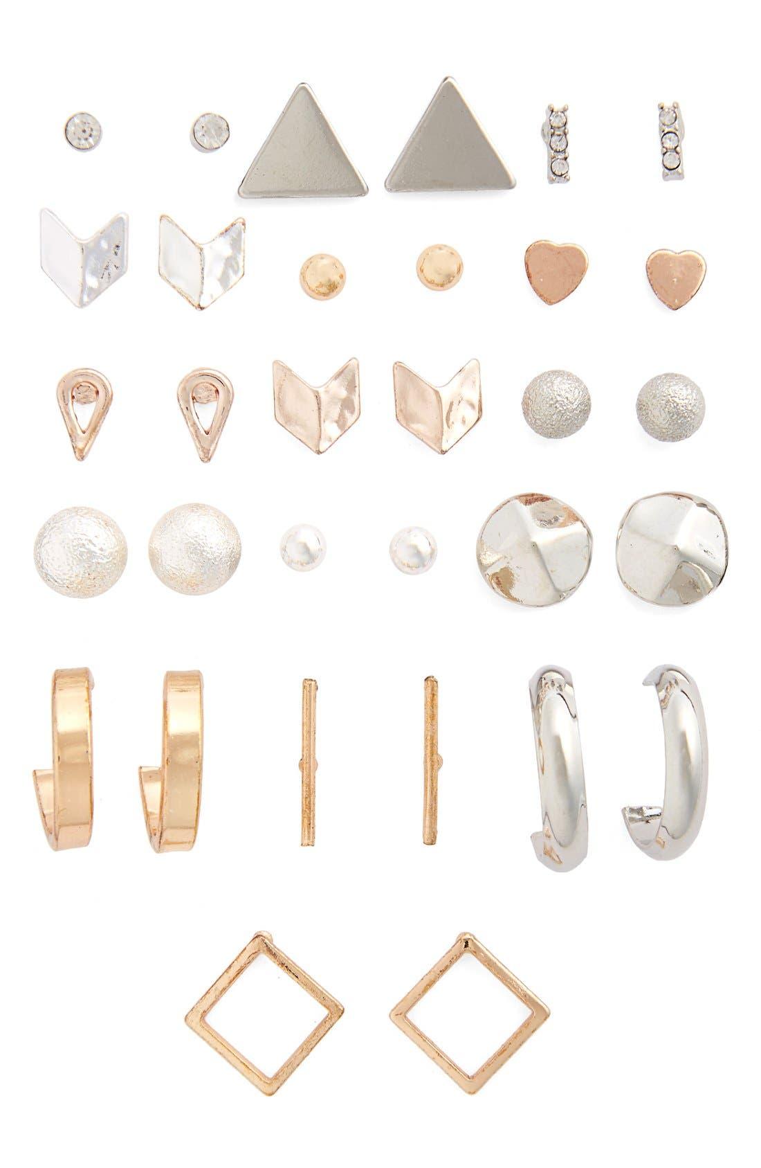 16-Pack Stud Earrings,                             Main thumbnail 1, color,                             041