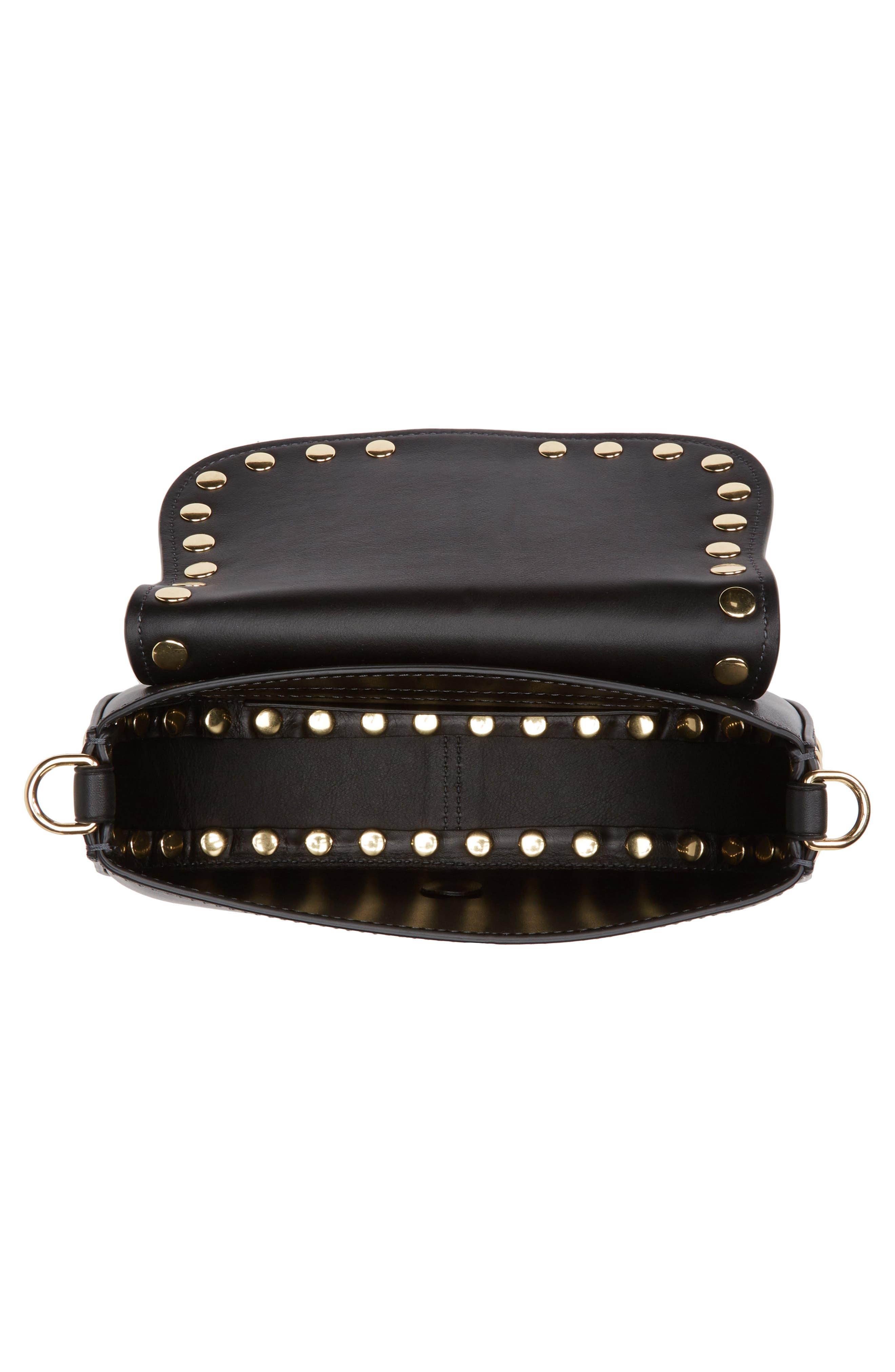Studded Navigator Leather Crossbody Bag,                             Alternate thumbnail 4, color,                             001