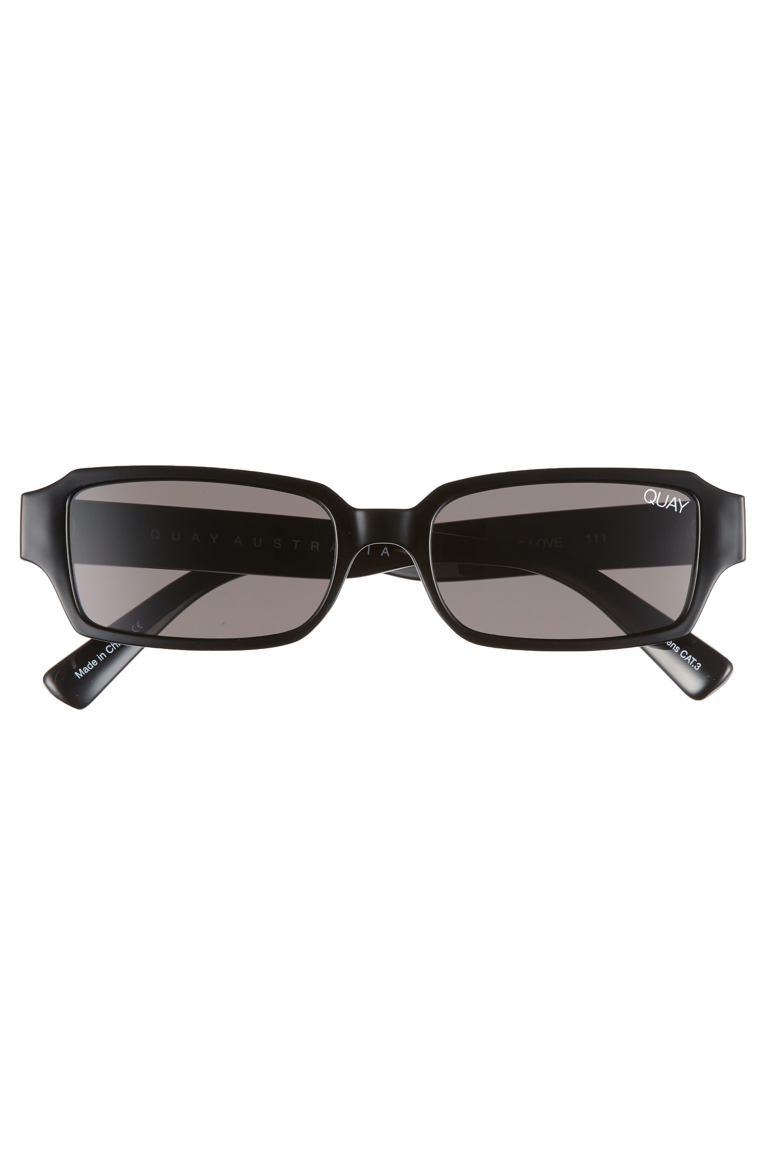 Strange Love 53mm Rectangle Sunglasses,                             Alternate thumbnail 3, color,                             BLACK/ SMOKE