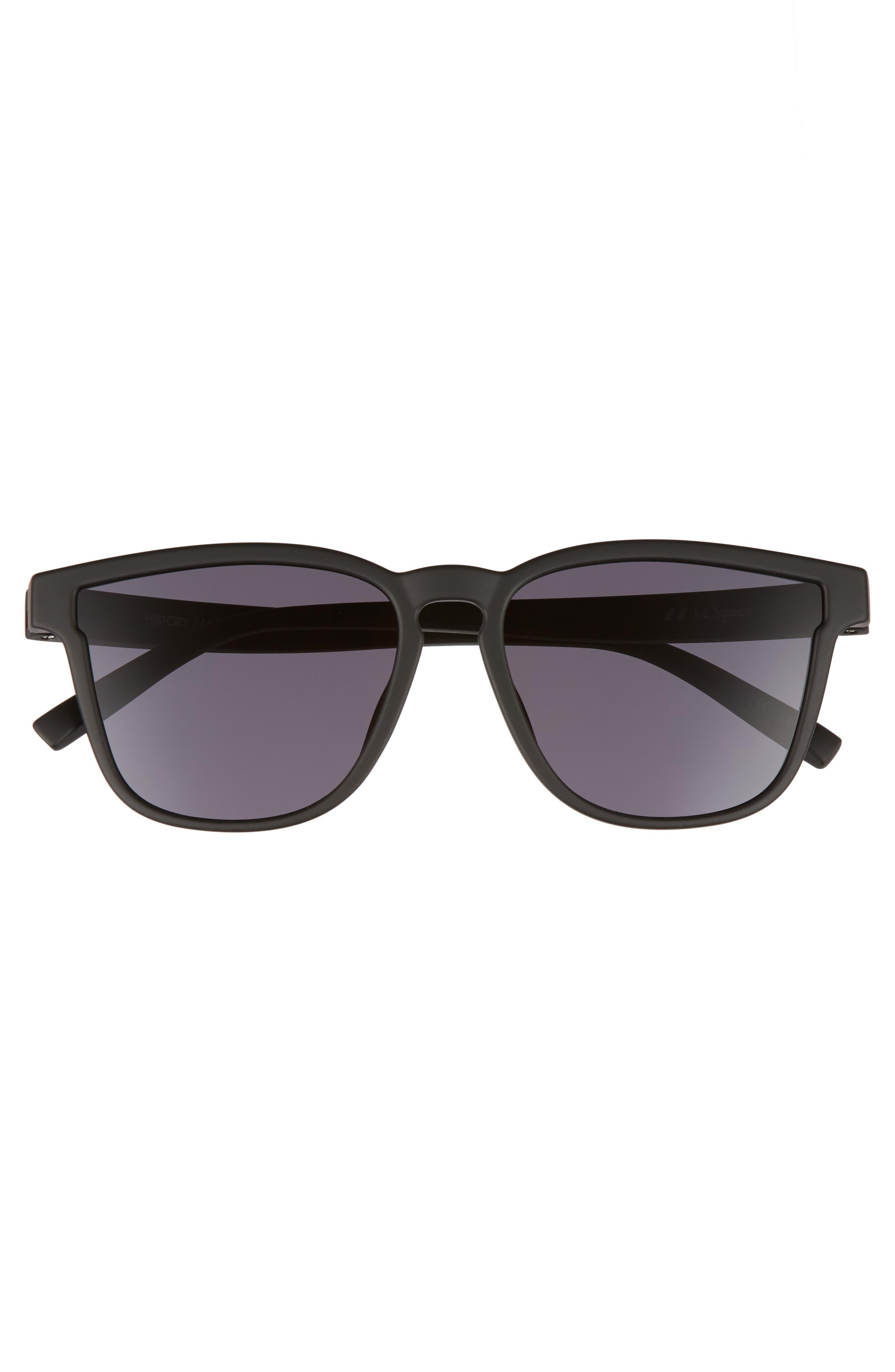 History 53mm Modern Rectangle Sunglasses,                             Alternate thumbnail 3, color,                             BLACK RUBBER