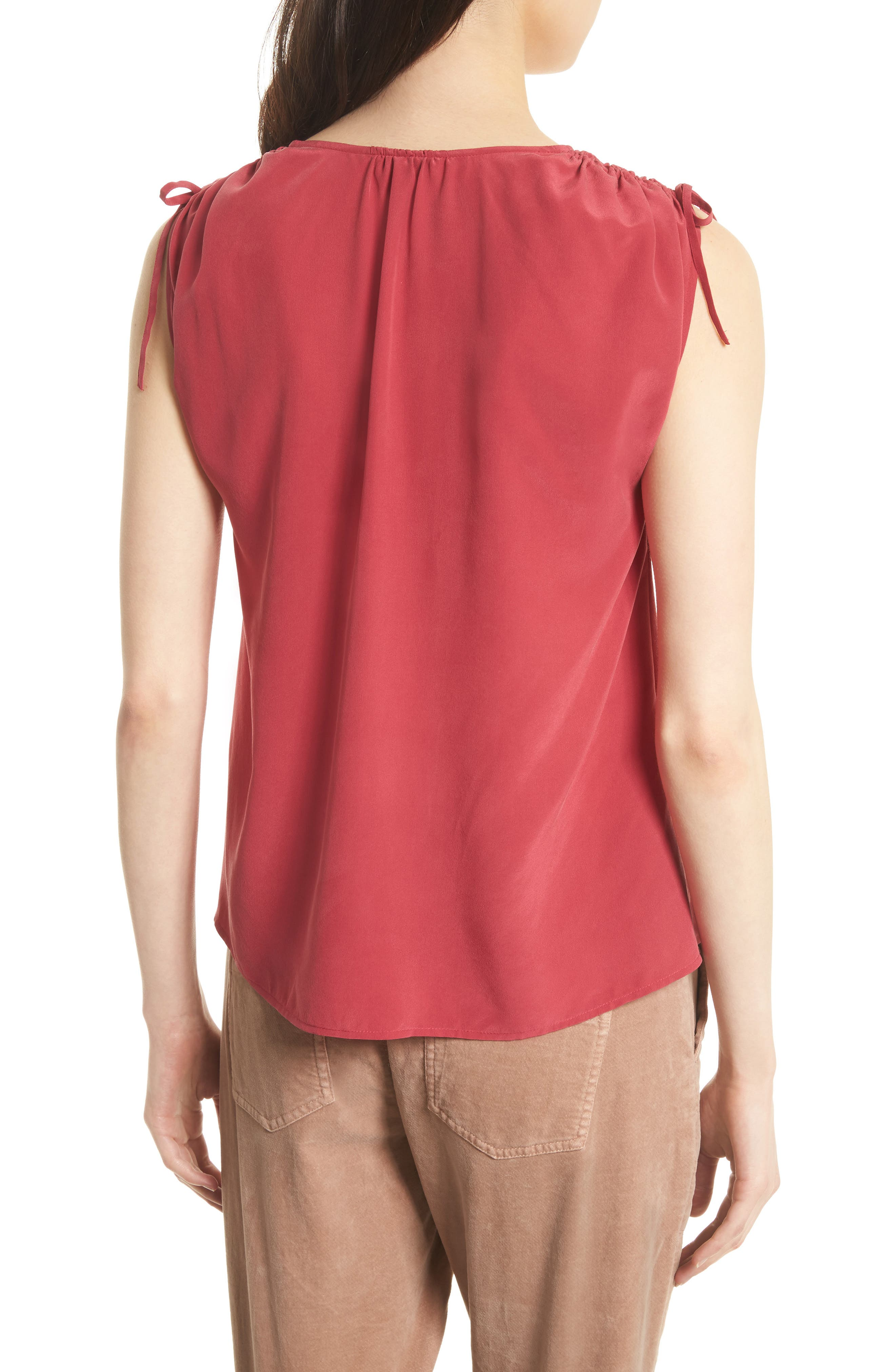 Alisha Tie Shoulder Silk Top,                             Alternate thumbnail 3, color,