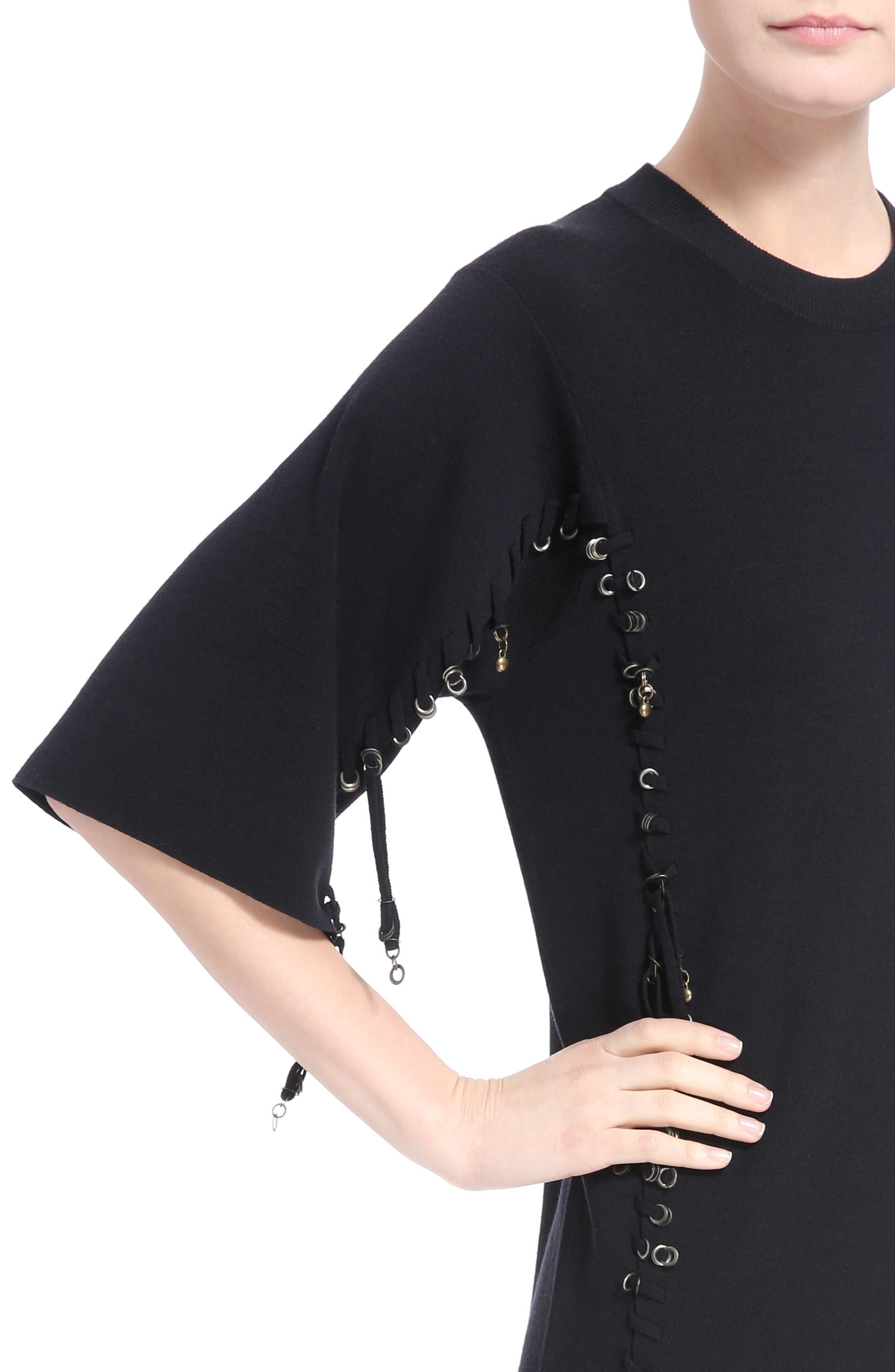 Laced Grommet Wool Dress,                             Alternate thumbnail 4, color,                             410