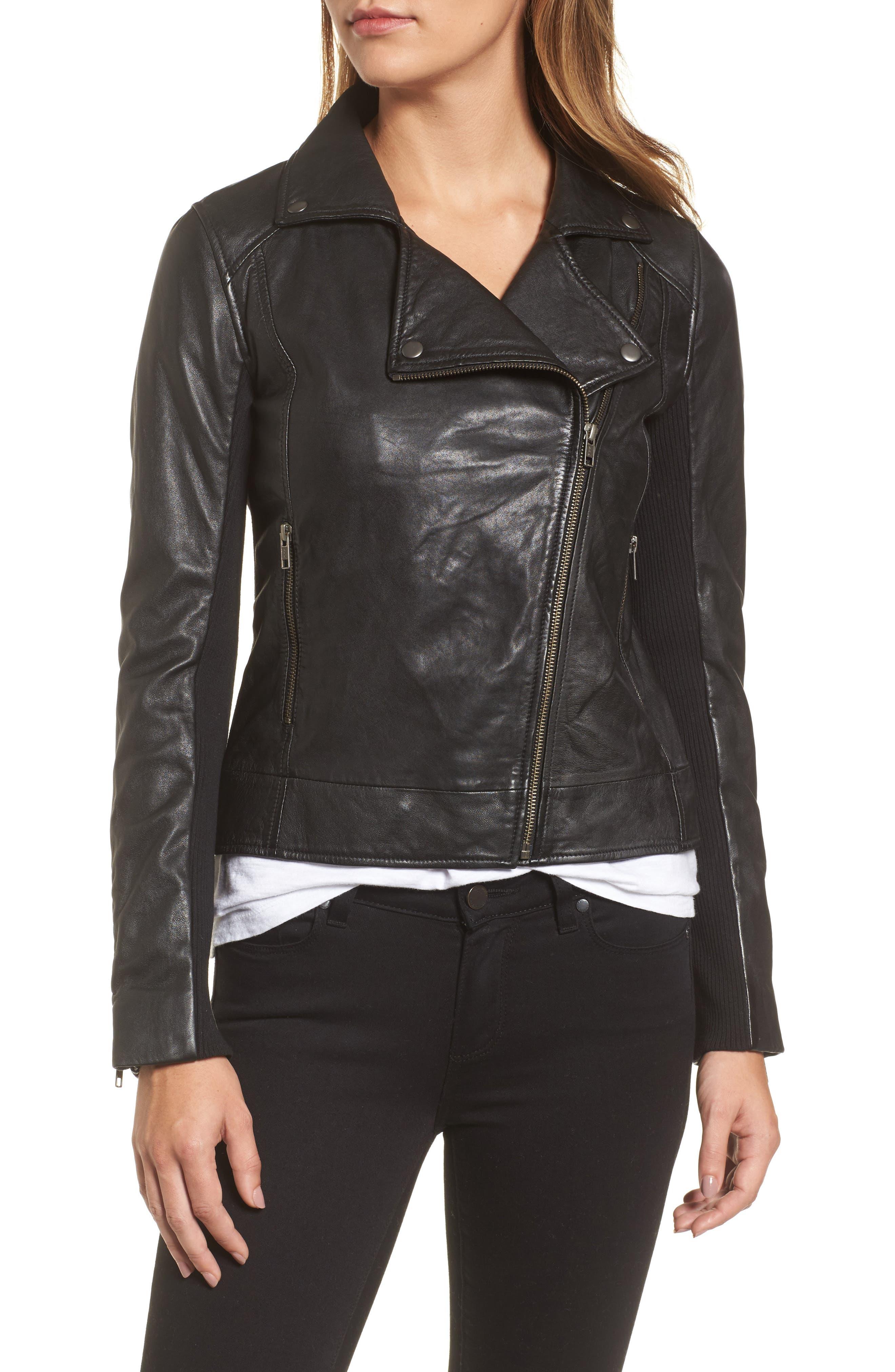 Leather Moto Jacket,                             Alternate thumbnail 4, color,                             001
