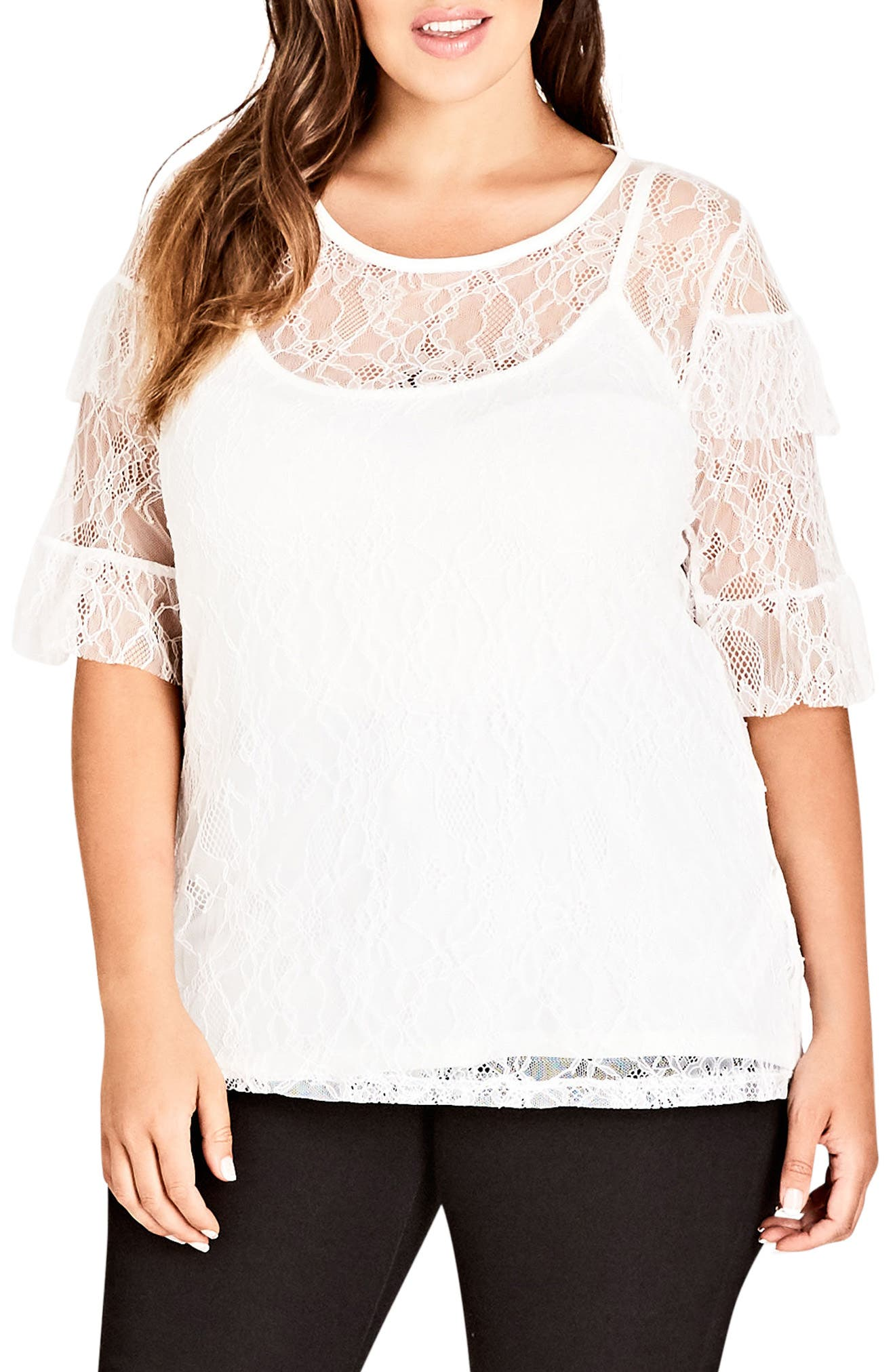 Lace Power Top,                         Main,                         color, IVORY