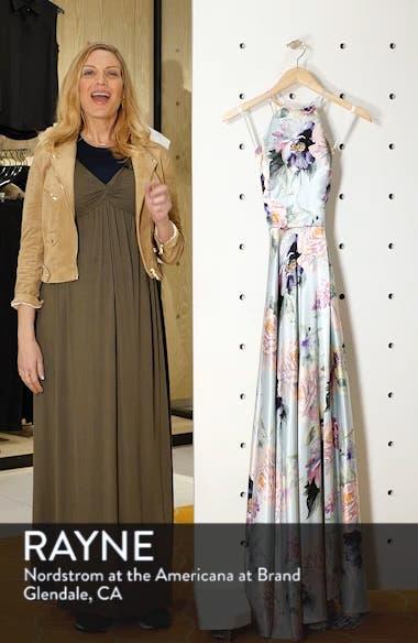 Floral Print Charmeuse Evening Dress, sales video thumbnail