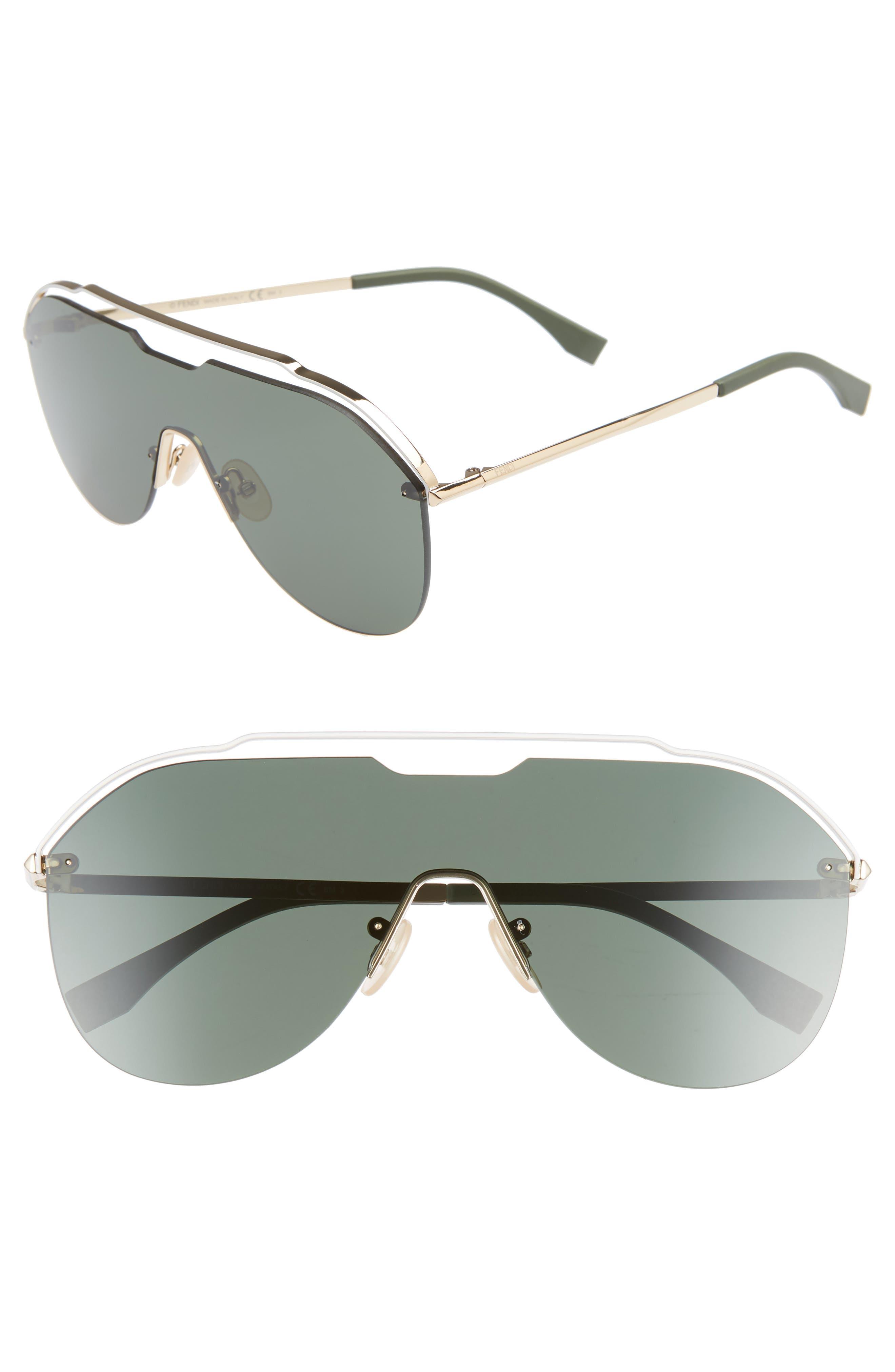137mm Shield Aviator Sunglasses,                         Main,                         color, GOLD