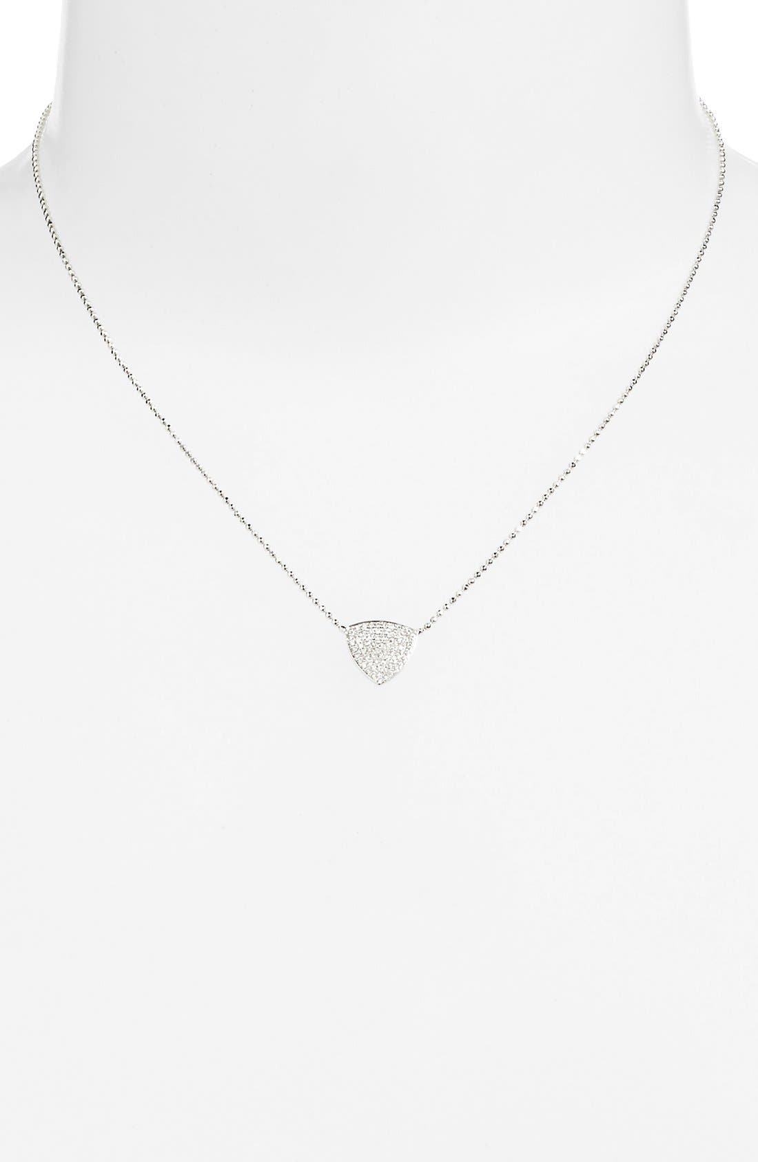 'Aurora' Diamond Pavé Triangle Necklace,                             Alternate thumbnail 2, color,                             WHITE GOLD