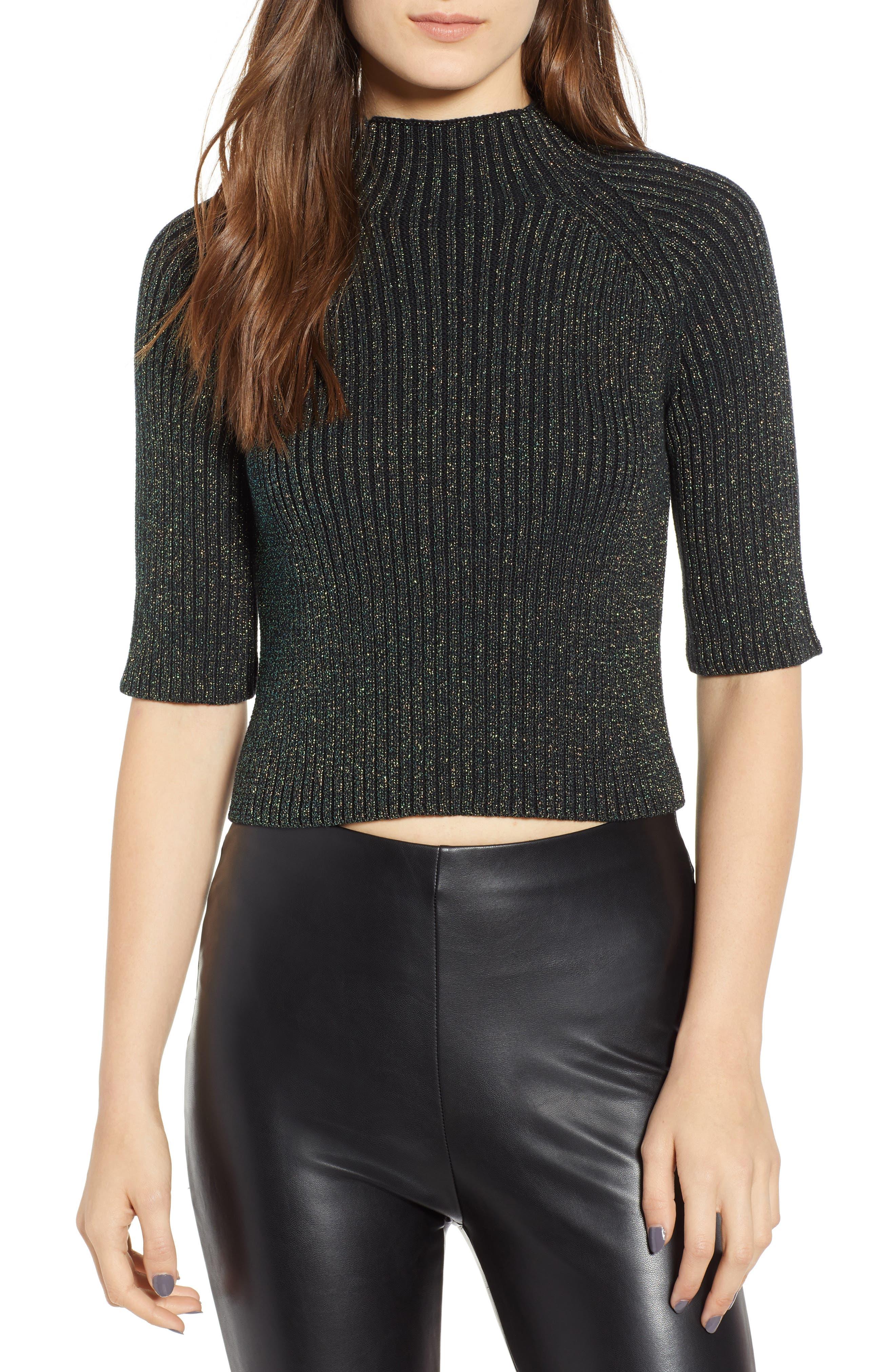 Sparkle Crop Sweater,                         Main,                         color, GREEN BOTANICAL METALLIC