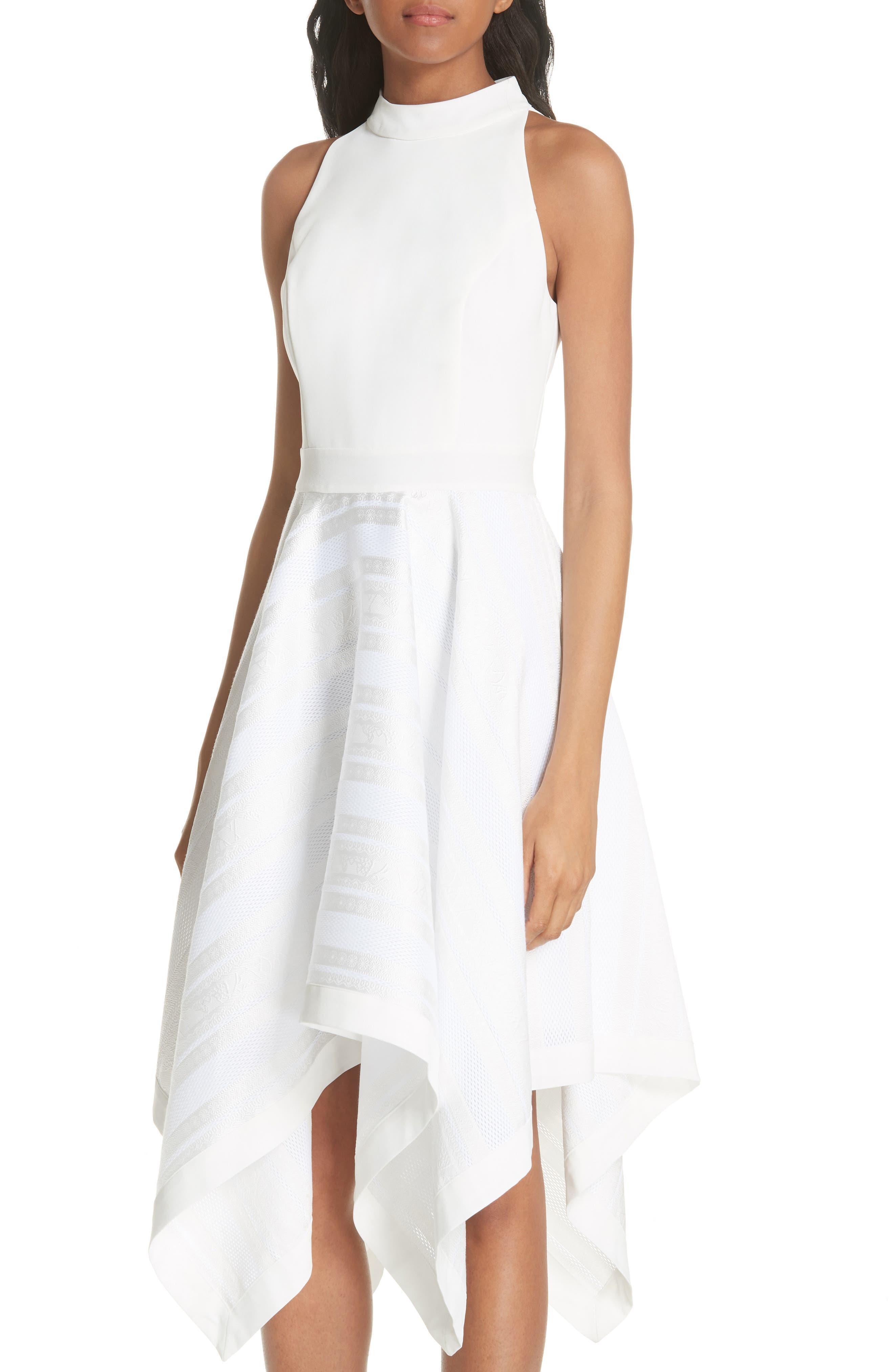 Draped Fit & Flare Dress,                             Alternate thumbnail 4, color,                             110