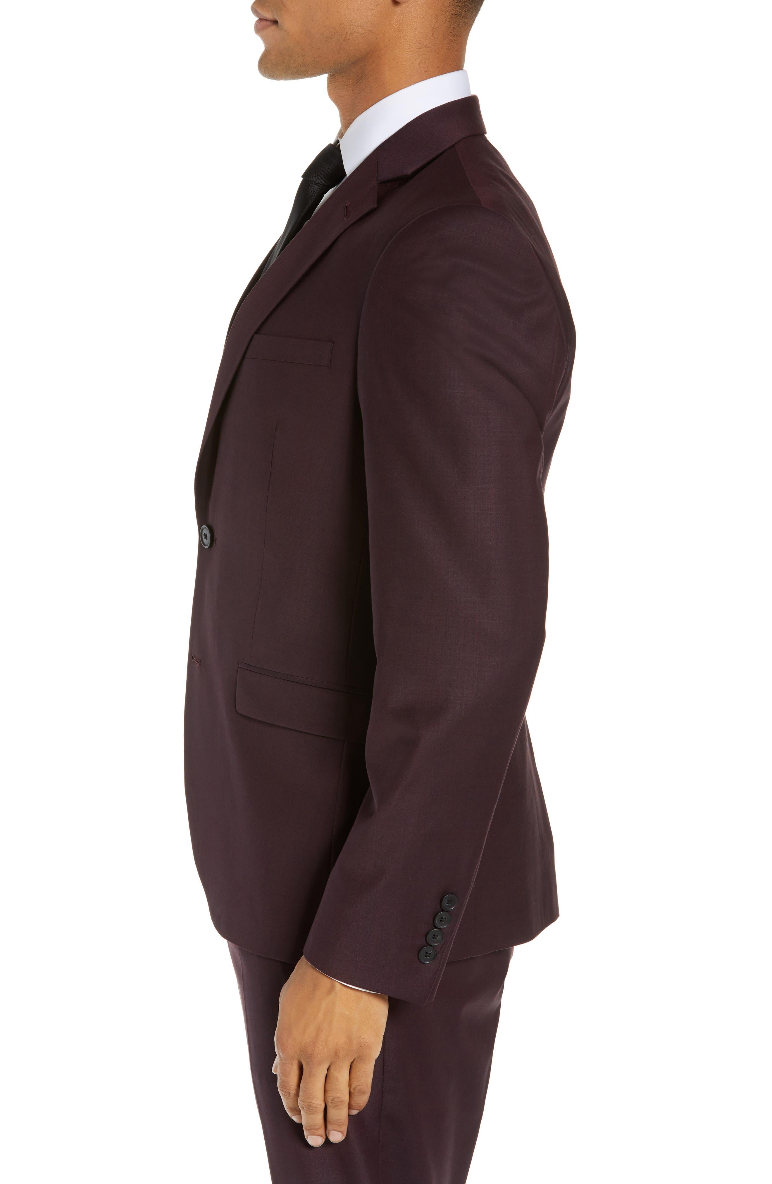 Extra Trim Fit Suit Jacket,                             Alternate thumbnail 3, color,                             BURGUNDY