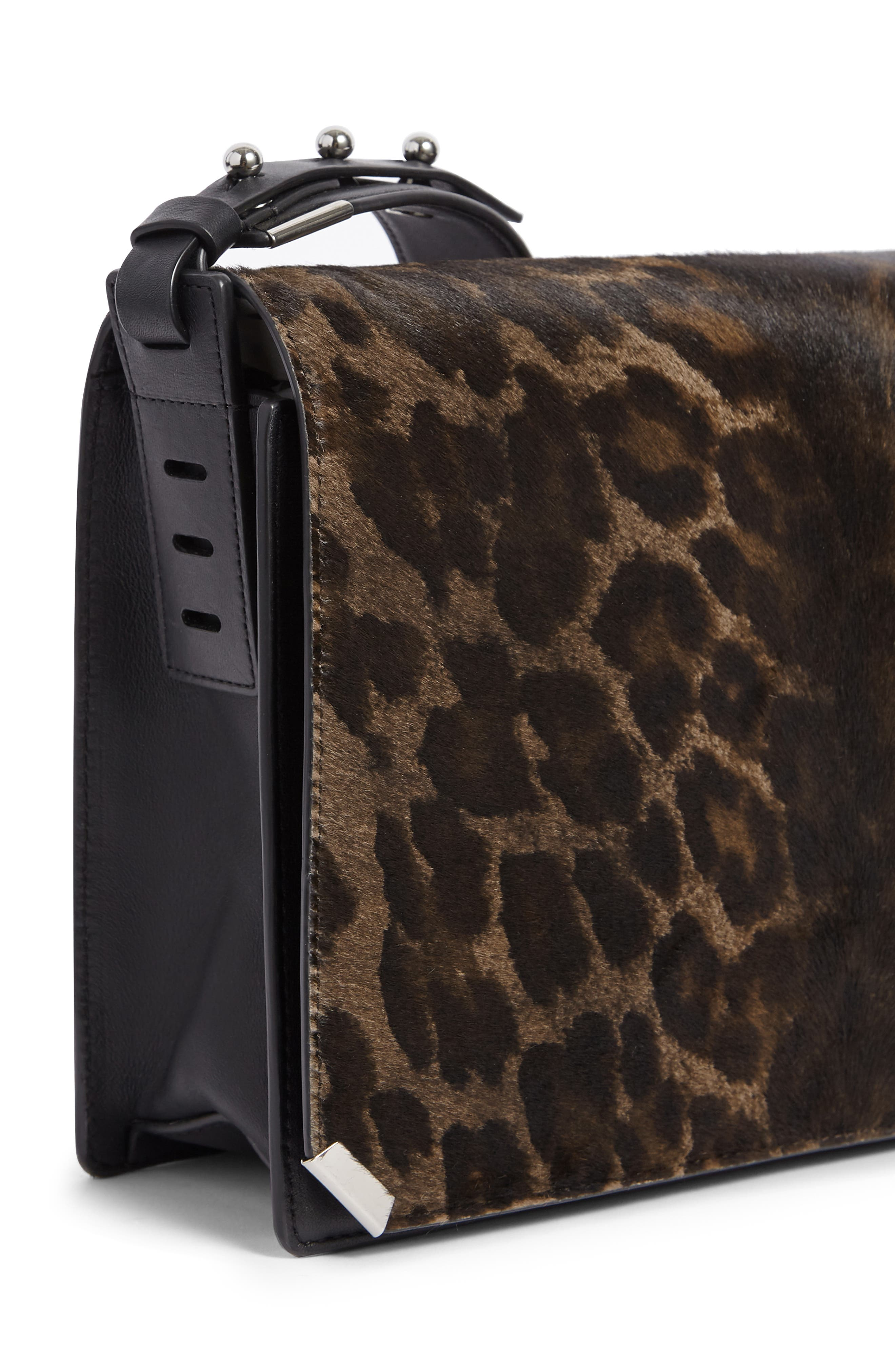 Vincent Genuine Calf Hair Shoulder Bag,                             Alternate thumbnail 5, color,                             LEOPARD/ BLACK