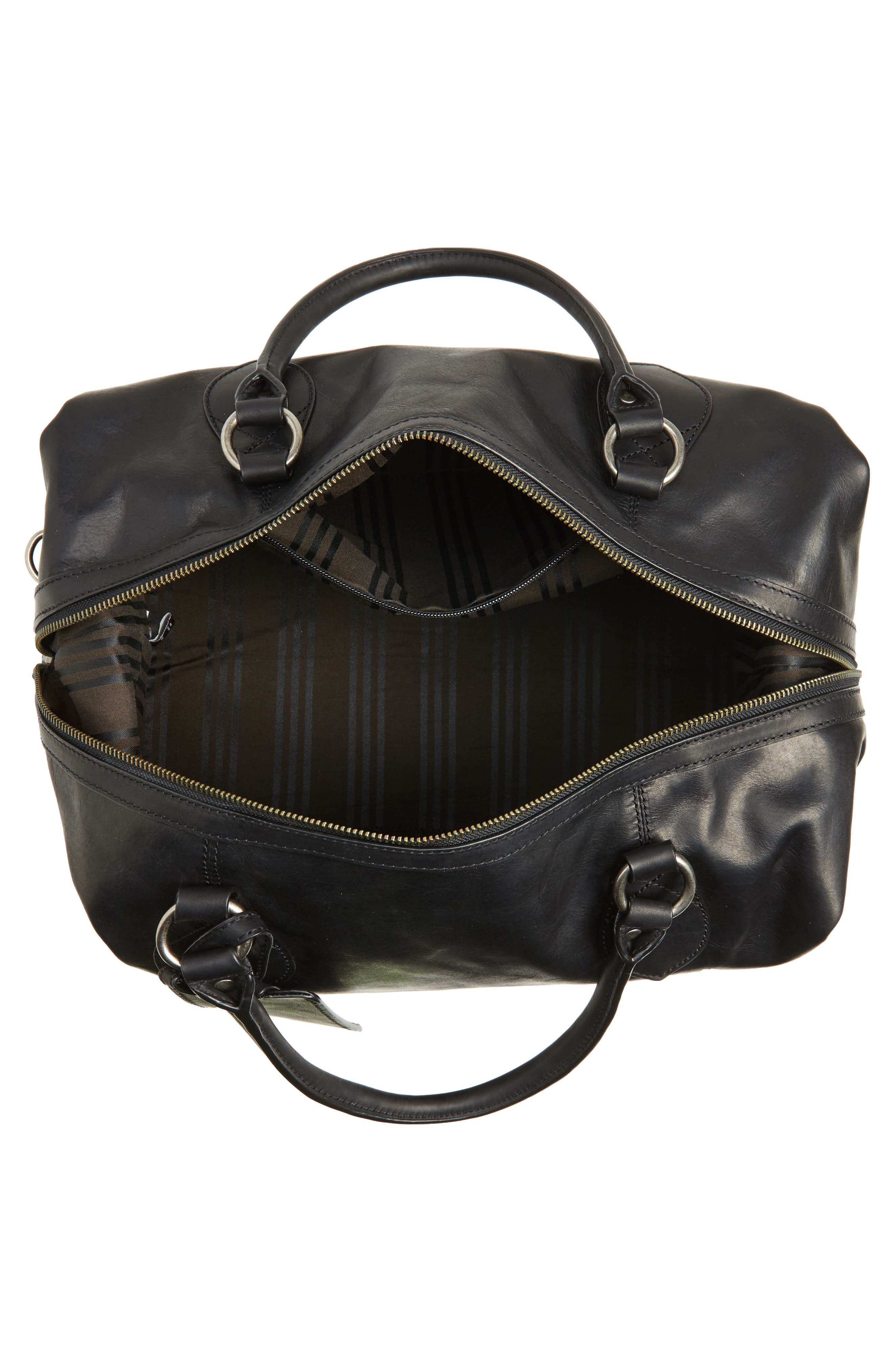 'Logan' Leather Overnight Bag,                             Alternate thumbnail 4, color,                             001