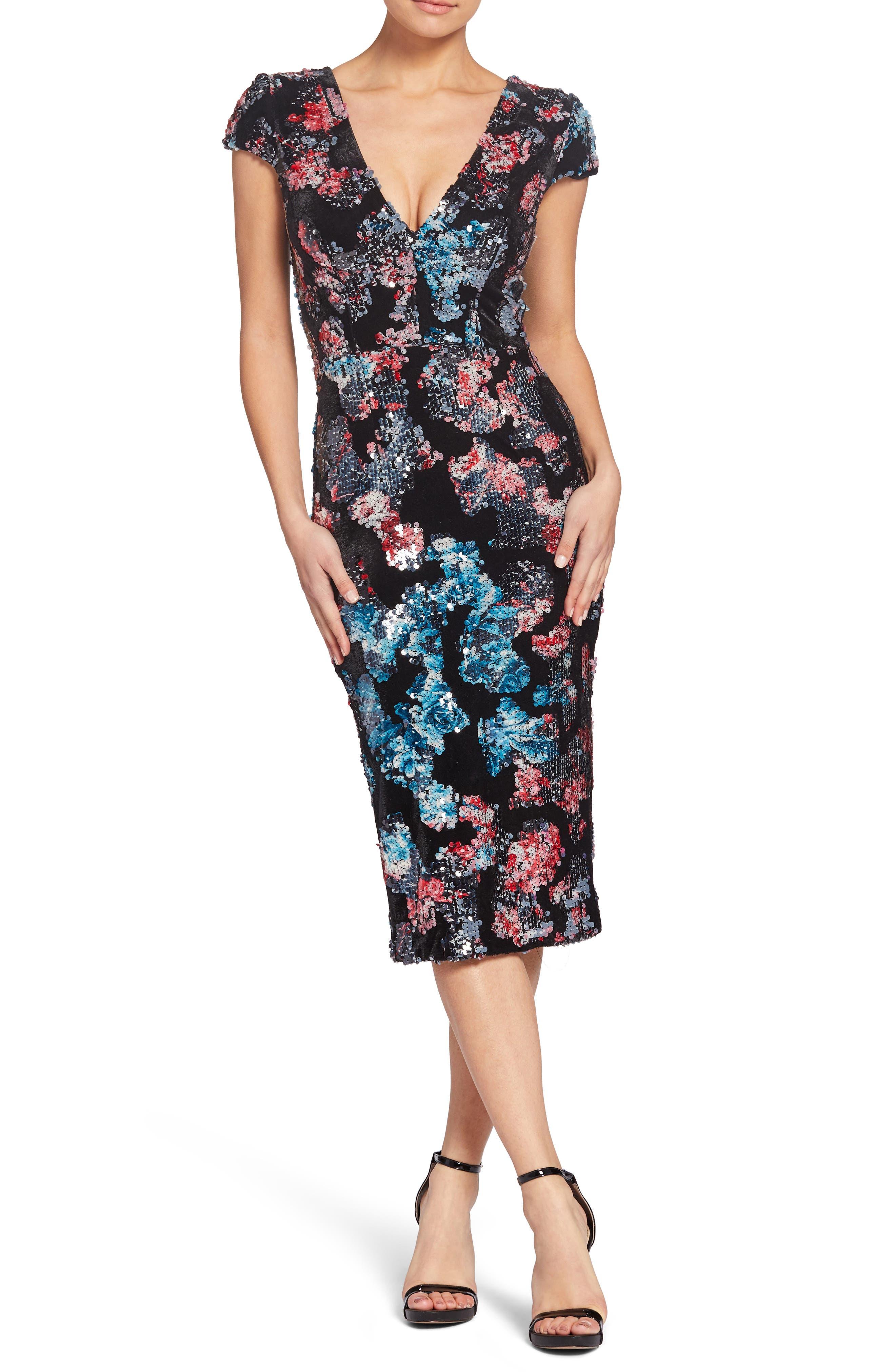 Allison Sequin & Velvet V-Neck Dress in Black Multi