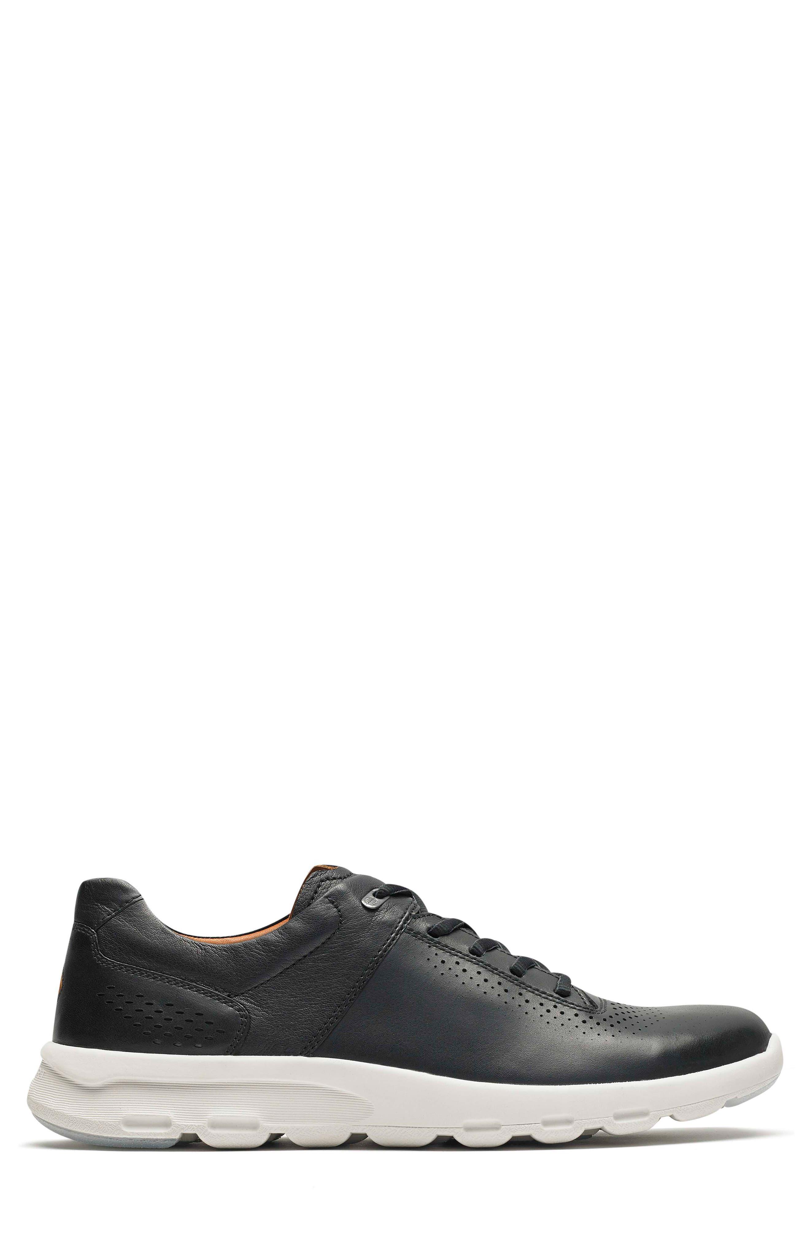 Let's Walk<sup>®</sup> Sneaker,                             Alternate thumbnail 3, color,                             BLACK LEATHER