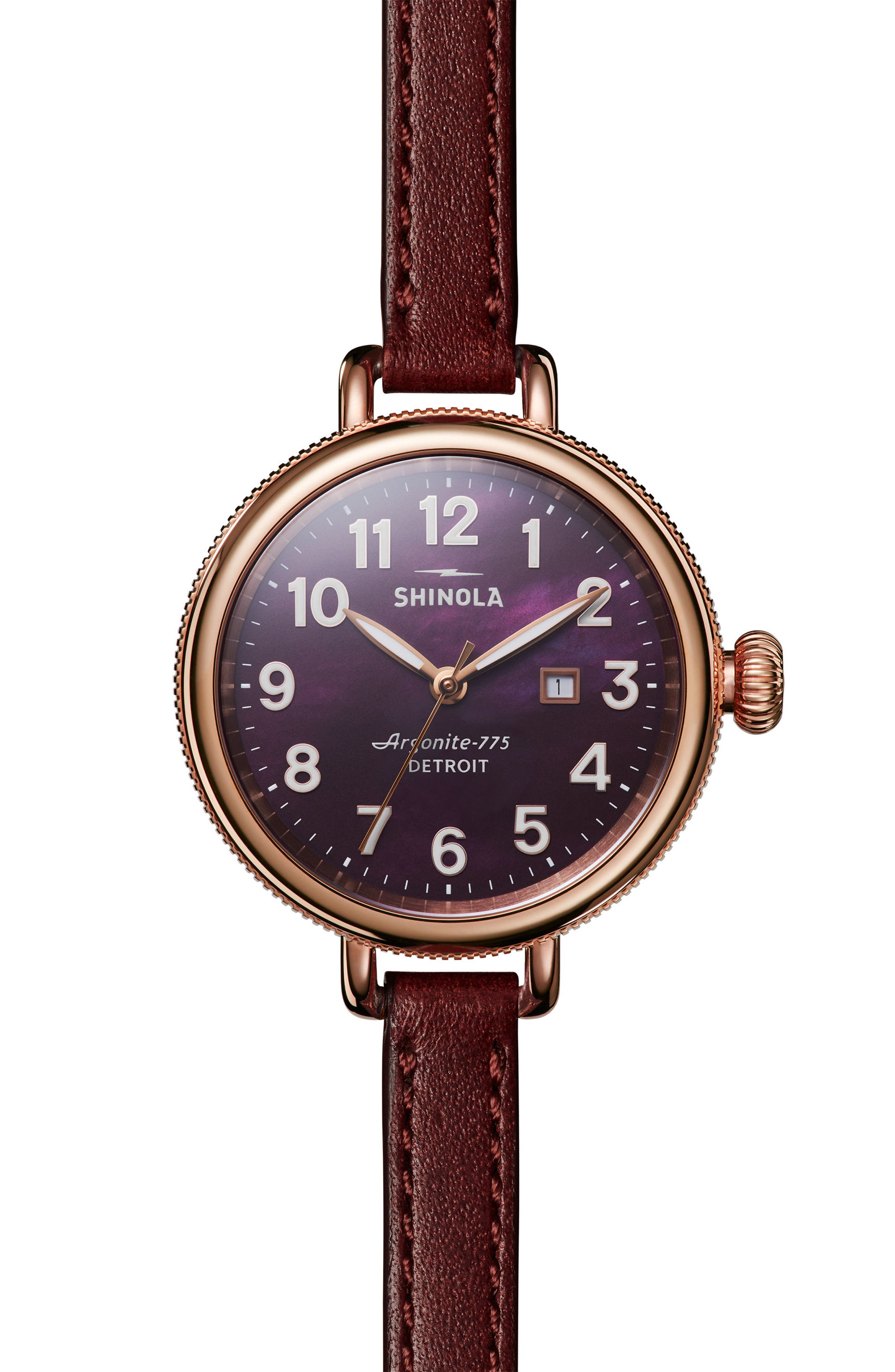 The Birdy Leather Strap Watch, 34mm,                             Main thumbnail 1, color,                             BURGUNDY/ GOLD