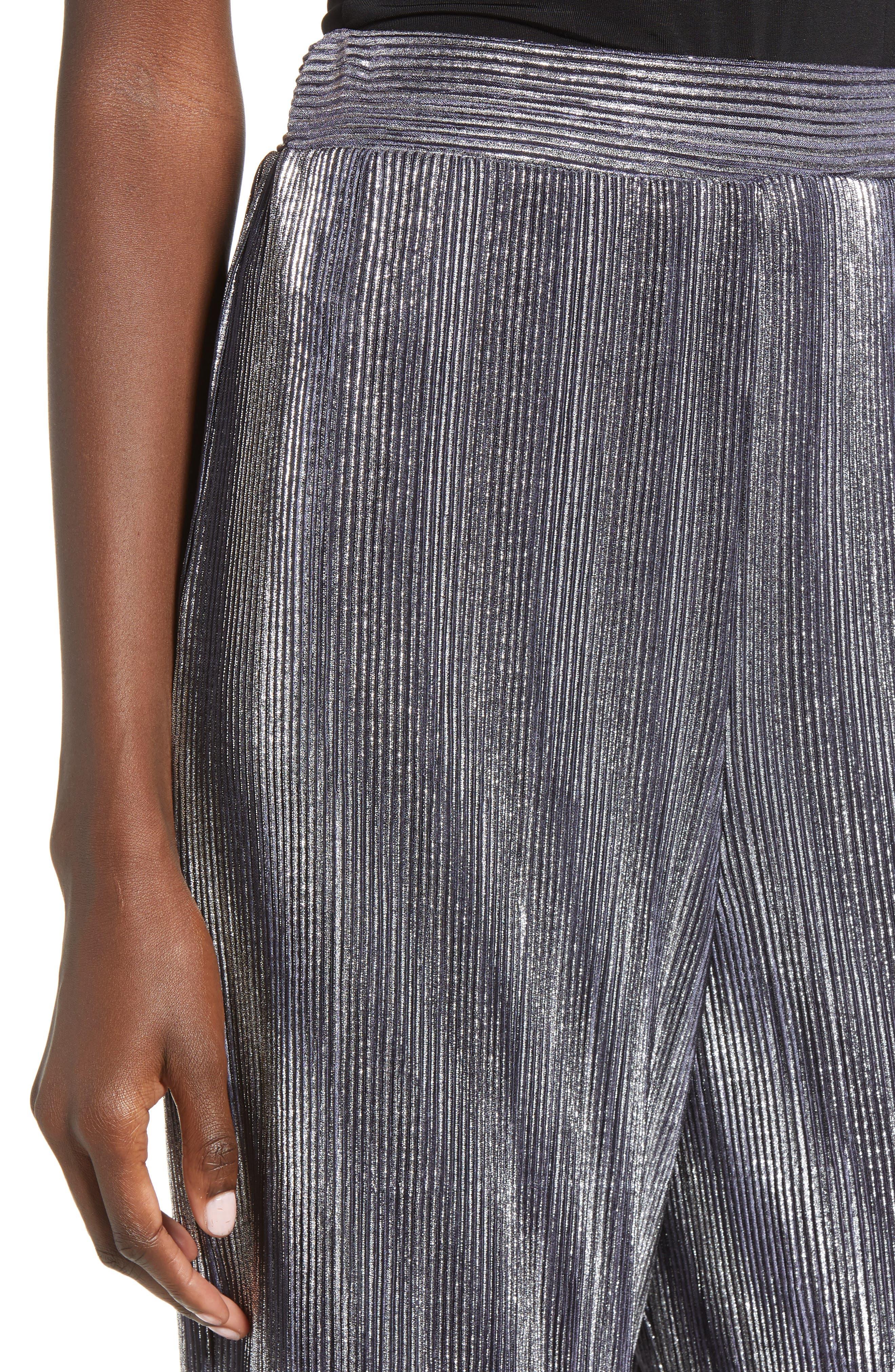 Metallic Mini Pleat Gaucho Crop Pants,                             Alternate thumbnail 4, color,                             SILVER