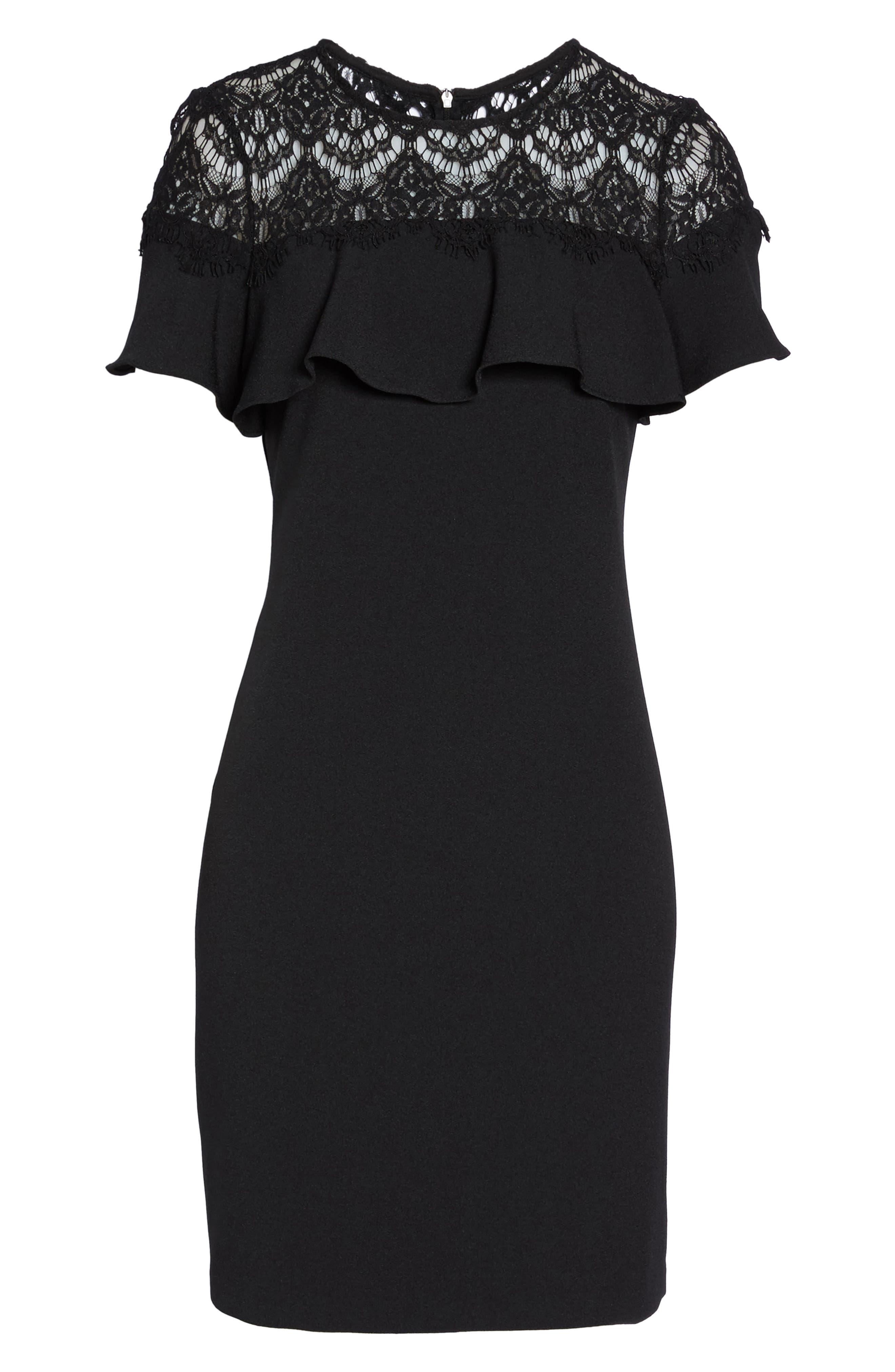 Lace Ruffle Sheath Dress,                             Alternate thumbnail 6, color,